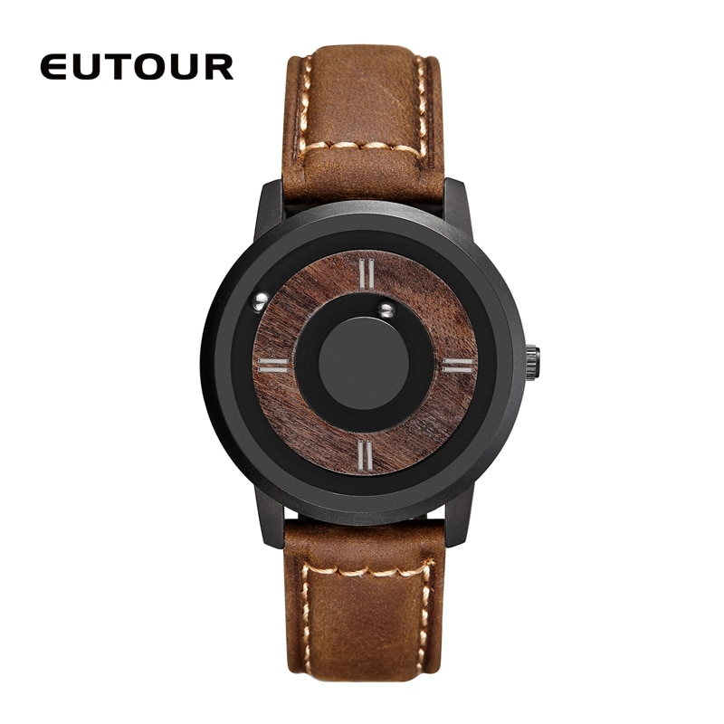H986fb55bbbd04a48b15103588e3884201 - EUTOUR Magnetic ball Wooden dial watches Luxury Brand Mens fashion Casual Quartz Watch Simple Men Round leather strap Wristw