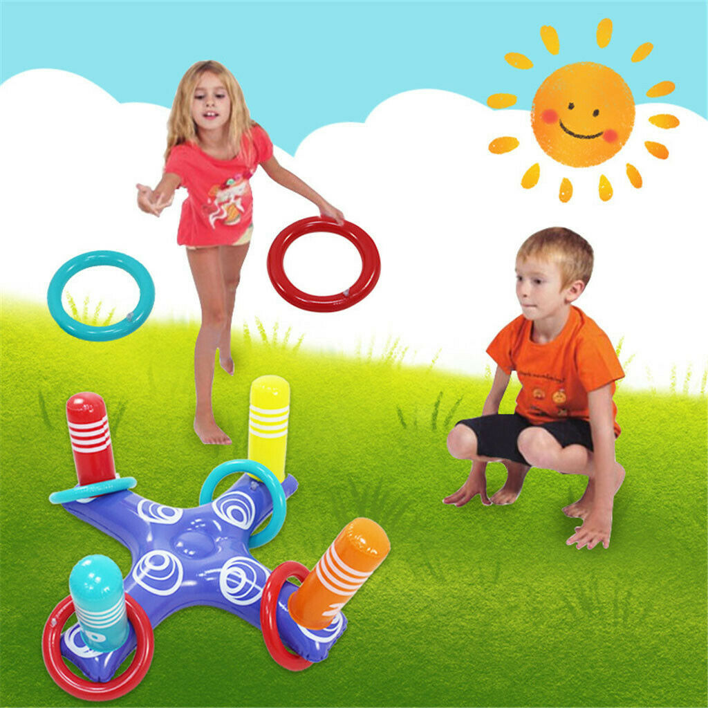 H99a79d44c3354250ba15738ec47439e3J - Inflatable Ring Toys Swimming Pool Floating Ring Summer Water Beach Cross Ring Toss Game With 4PCS Rings For Children /Adults
