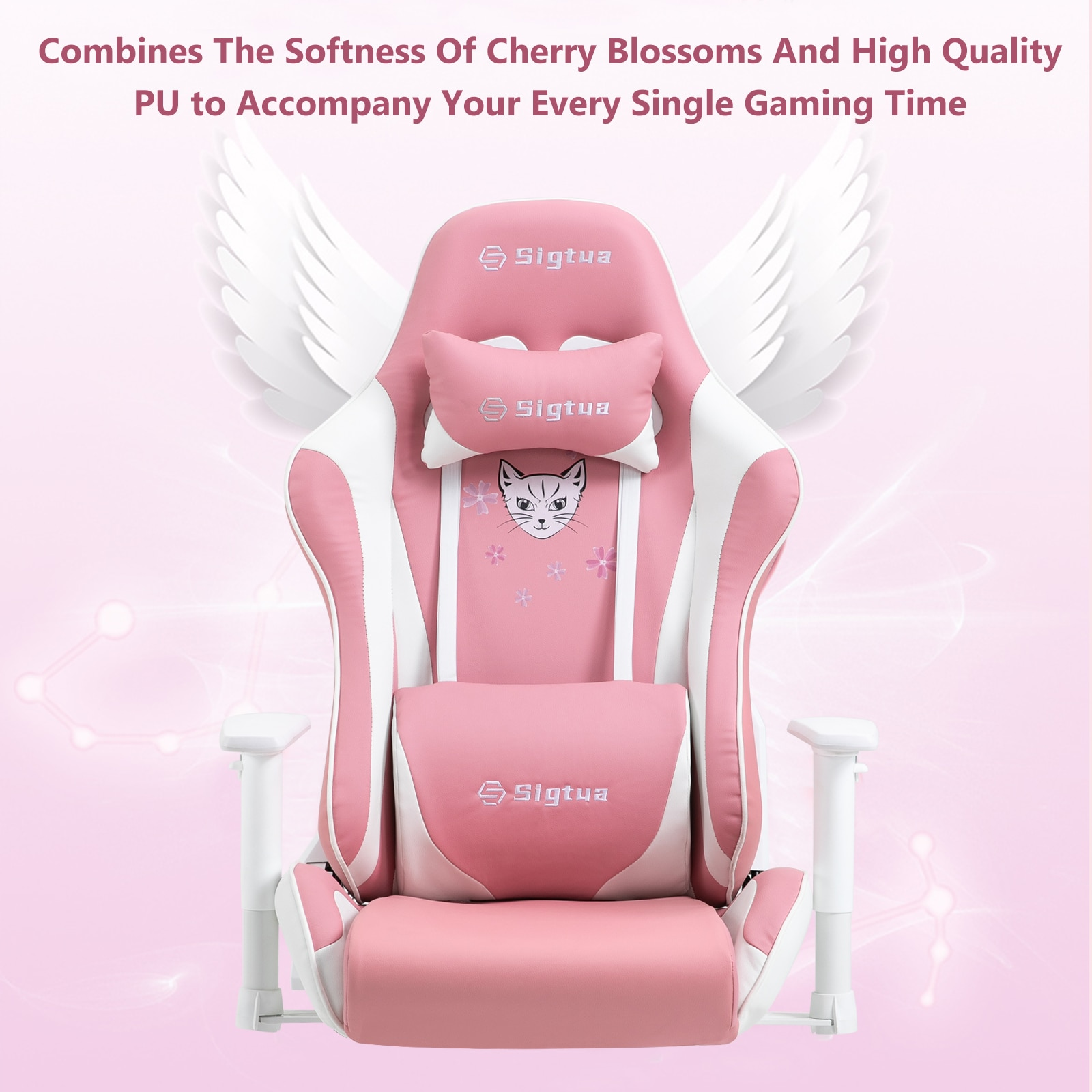 H99f650478aab422896d3629c058c3dda0 - Sigtua Pink Gaming Office Chair Height-adjustable Armrests Computer Chair Ergonomic Swivel Executive Chair with High Backrest