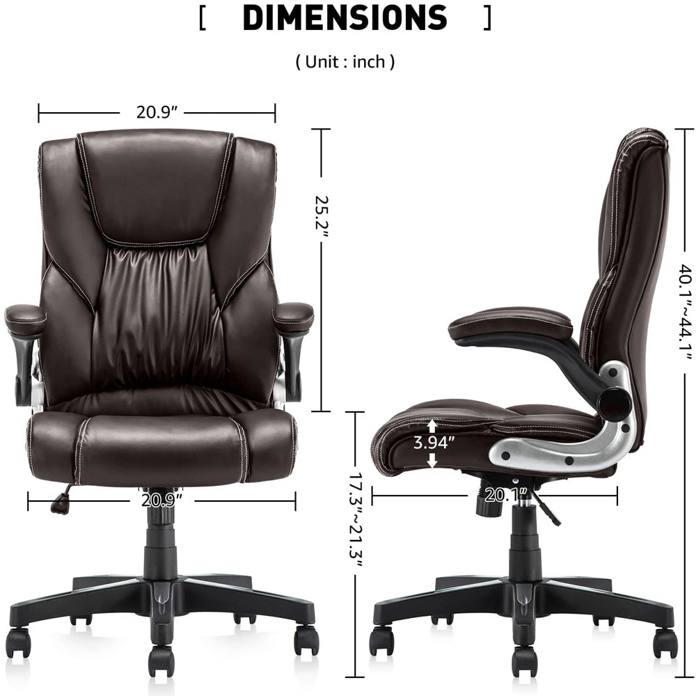 H9a05b7664d5a48a39b500882f2652a0aL - YAMASORO Ergonomic Office Chair with Flip up Arms and Wheels Executive Office Desk Chairs Boss Leather Brown Computer Chairs