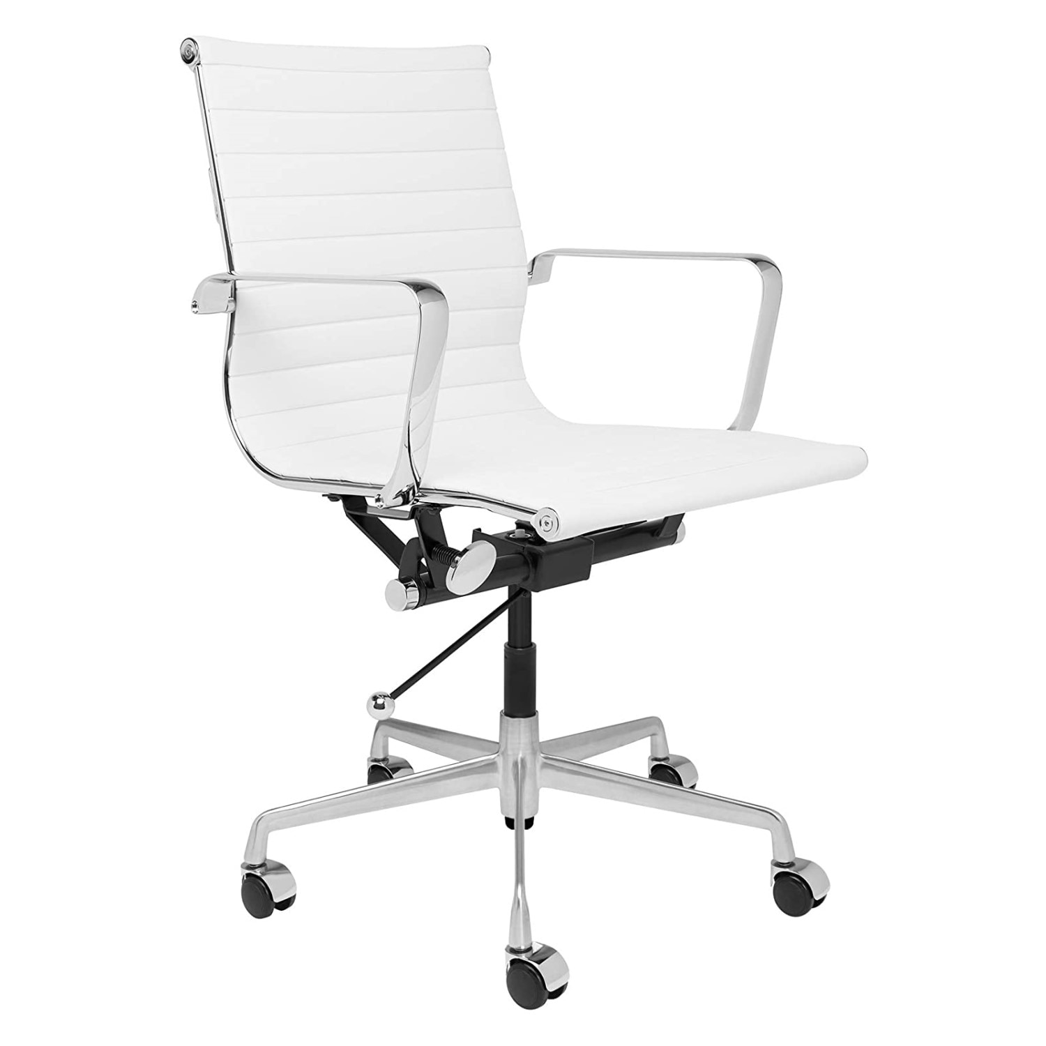 H9a7f601836324c5f96c4e082cc8e2459G - Furgle Executive Office Chair Mid Back PU Leather with Arms Rest Tilt Gaming Chair Adjustable Height with Wheels Swivel Chairs
