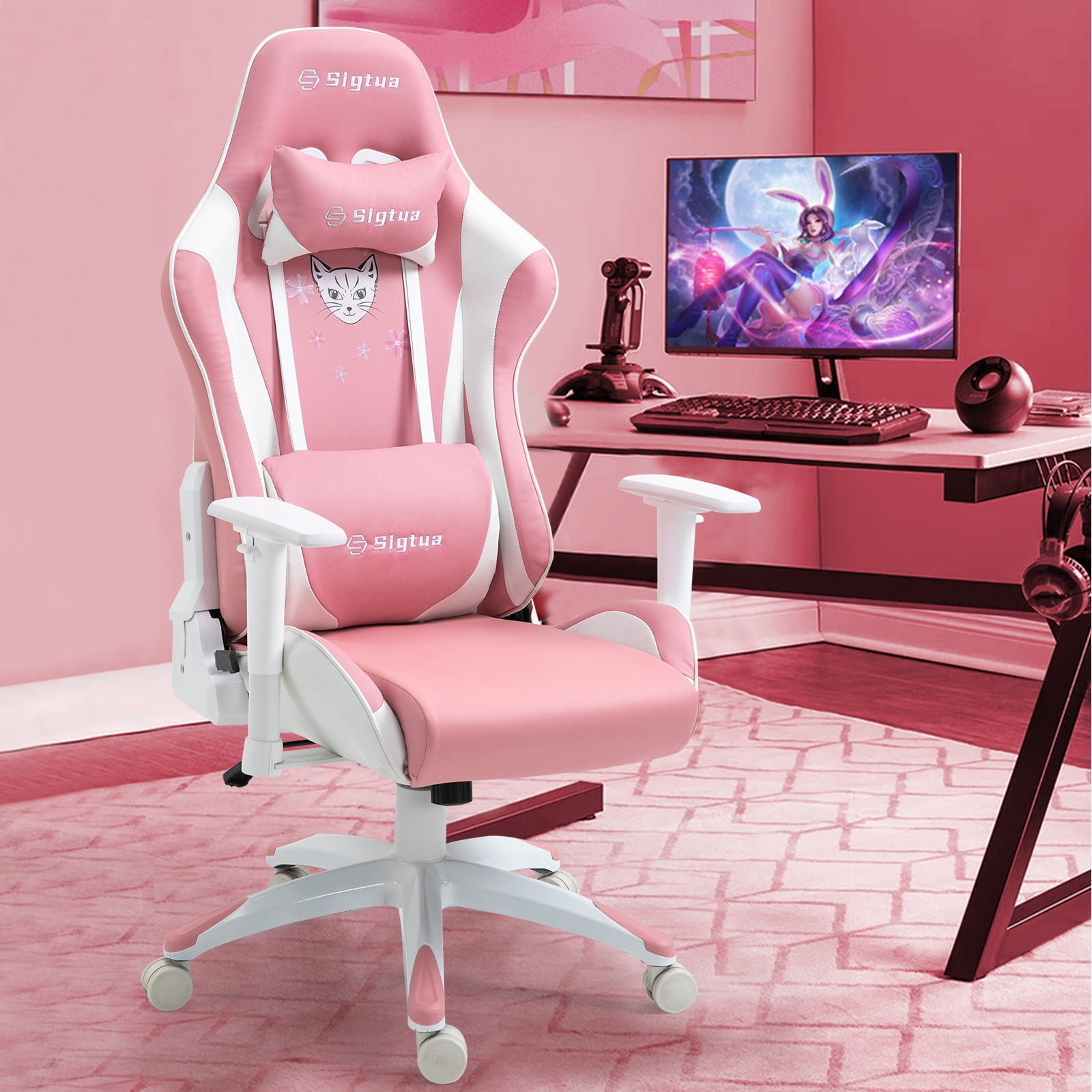 H9ab20e58c6d445b5b5567ce0b5411a06j - Sigtua Pink Gaming Office Chair Height-adjustable Armrests Computer Chair Ergonomic Swivel Executive Chair with High Backrest