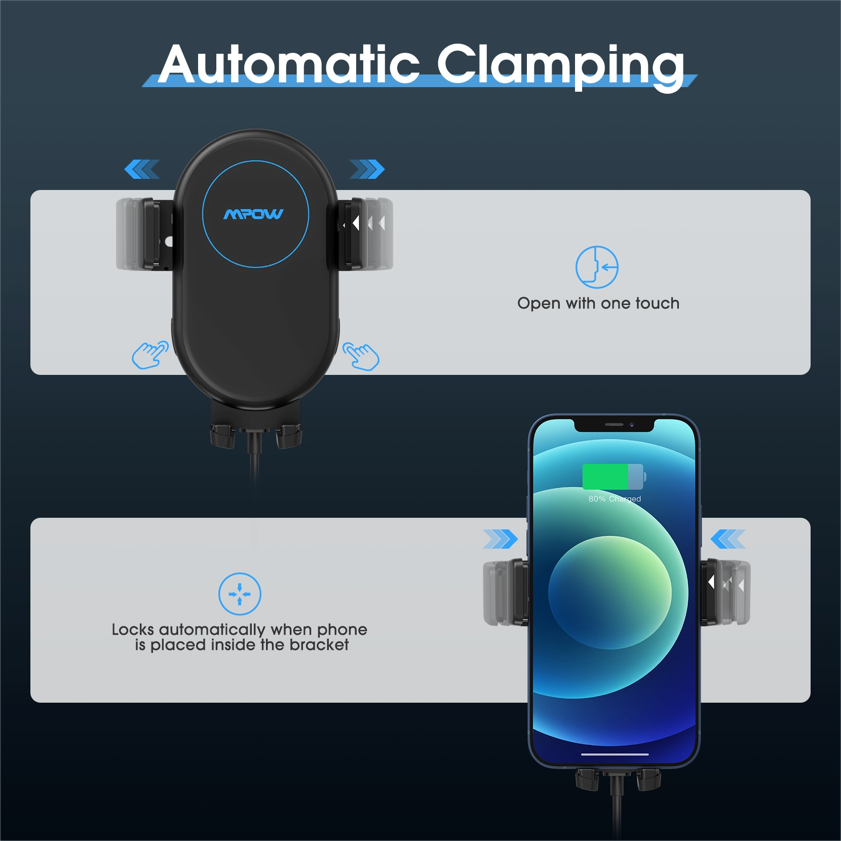 H9b715cd3cb354fbfa35081f60034ff73E - Mpow Wireless Car Charger Mount 10W Auto-clamping Qi Fast Charging Car Mount with Power Storage Car Phone Holder for iPhone 12