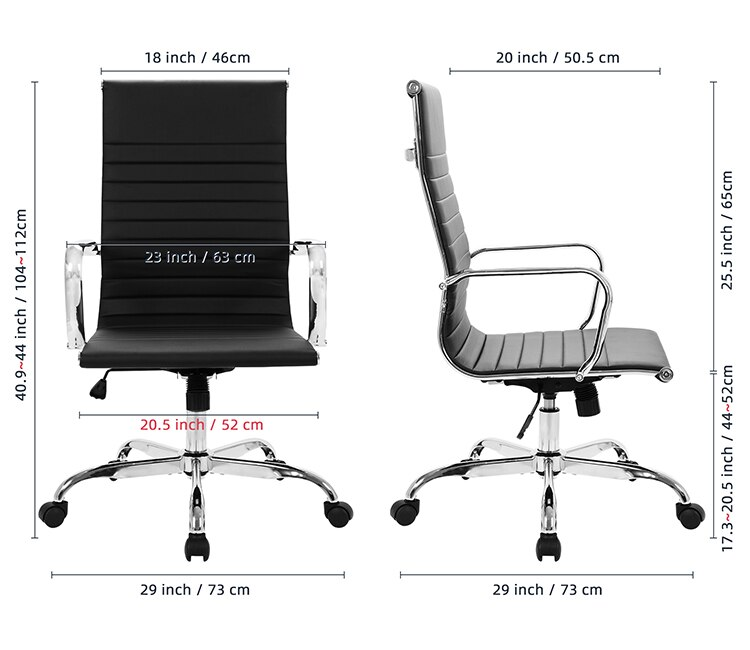 H9d5be7c7132d4f8cb17db047f89868e3n - GOSKEY High Back Office Chair PU Leather Ribbed Swivel Tilt Adjustable Home Desk Chair with Armrest Executive Conference Black