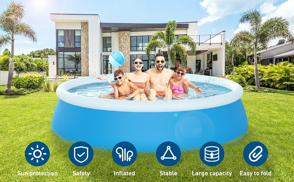 H9d735c125e8a494285d856ba8460a7eb0 - 244*66cm Swimming Pool 8 feet Family Inflatable,outdoor child summer swimming pool ,Summer Water Backyard Pool Party Supply
