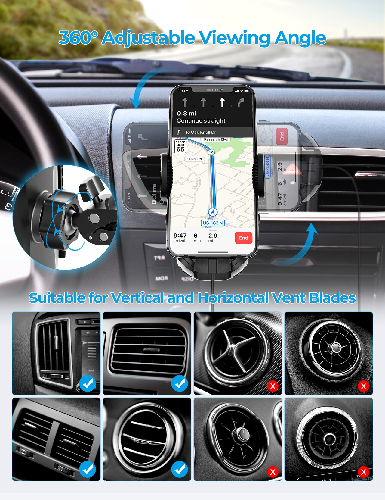 H9fe3d98846d54415b0cd9761dddf8a5cc - MPOW CA163 Universal Air Vent Car Phone Mount with Stable Clip and Dual Release Button Compatible with iPhone 12 11 Pro and More