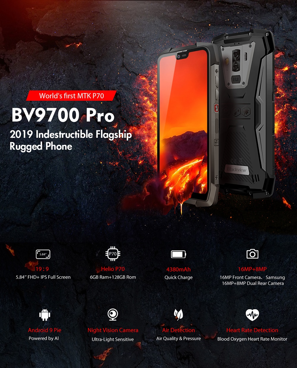 HTB1fOngcq1s3KVjSZFAq6x ZXXaM - Blackview BV9700 Pro IP68 Rugged Mobile Phone Helio P70 Octa Core 6GB 128GB Android 9.0 16MP 8MP Night Vision Camera Smartphone