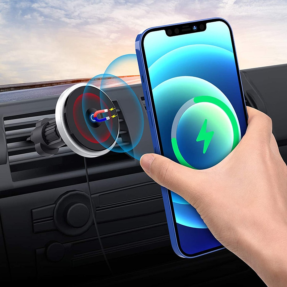 Ha3ac791fa3b042018b1fd2a7de430b5dJ - Bonola Qi 15W Wireless Car Charger For iPhone 12/11/8 Plus/Samsung/Xiaomi Car Smart Phone Charging Holder 15W Charger on Car
