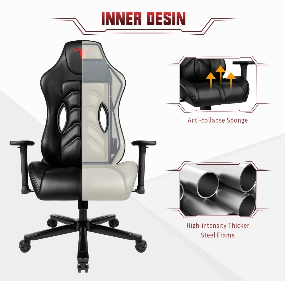Ha41cde3520ab463c946ed6d5cd054346U - Furgle ACE Series Office Chair 4D Armrest Gaming Chair Larger Seat Wider Back Side Computer Chair Swivel Leather Armchair Home
