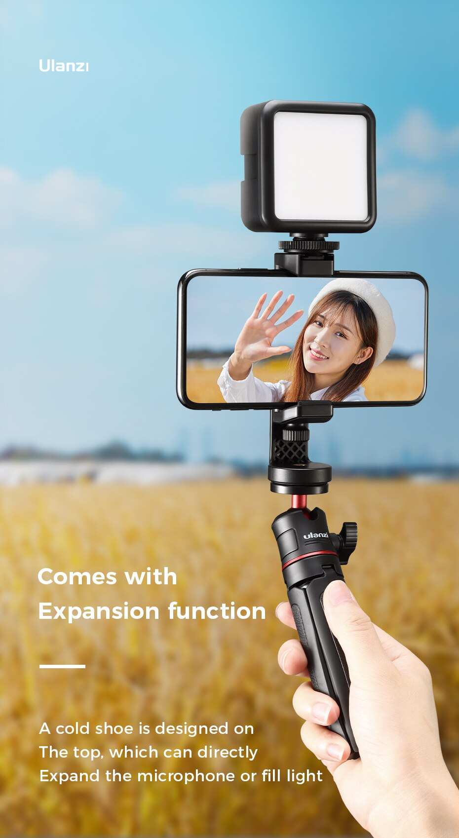 Ha461195dc4b34d04a94158ead0af2706g - Ulanzi ST-17 Universal Smartphone Clip Mount Holder Cold Shoe Vlog Tripod Mount Vertical Shooting for Huawei iPhone Android