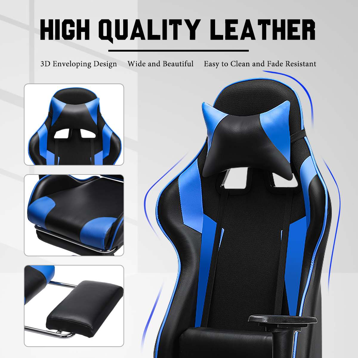 Ha4eb628c857c457ab2900c5b2a839d88X - 155° Gaming Chairs with Footrest Ergonomic Office Chair Adjustable Swivel Leather High Back Computer Desk Chair with Headrest