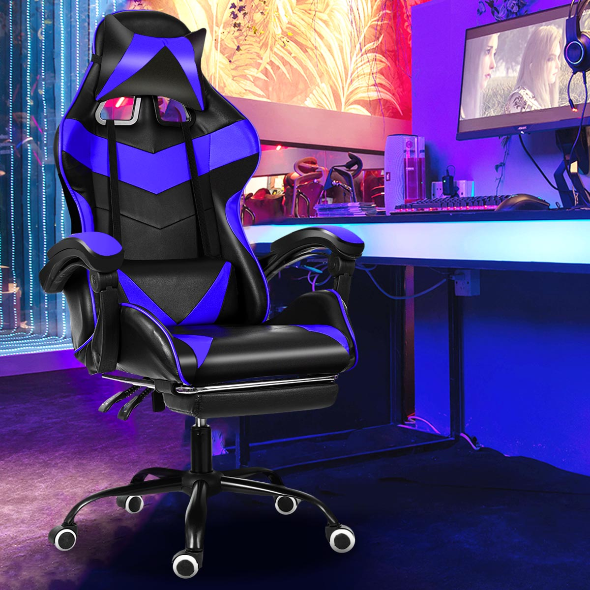 Haa864d0e2cdb423aa88df76890258d13h - Office Gaming Chair WCG Gaming Chair Home Internet Cafe Gamer Chair Ergonomic Computer Office Chair Swivel Lifting LyingFootrest