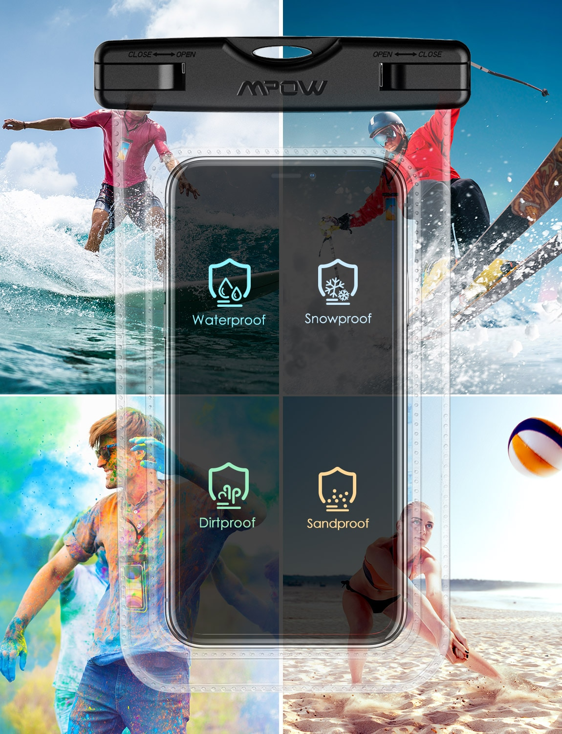 Haaef7a41240b432790905709a8a78fa0z - 2PCS Mpow 097 IPX8 Waterproof Phone Bag Pouch Case Universal for 7.0 inch Phones Home Button Cutout Take Photo Underwater IP68