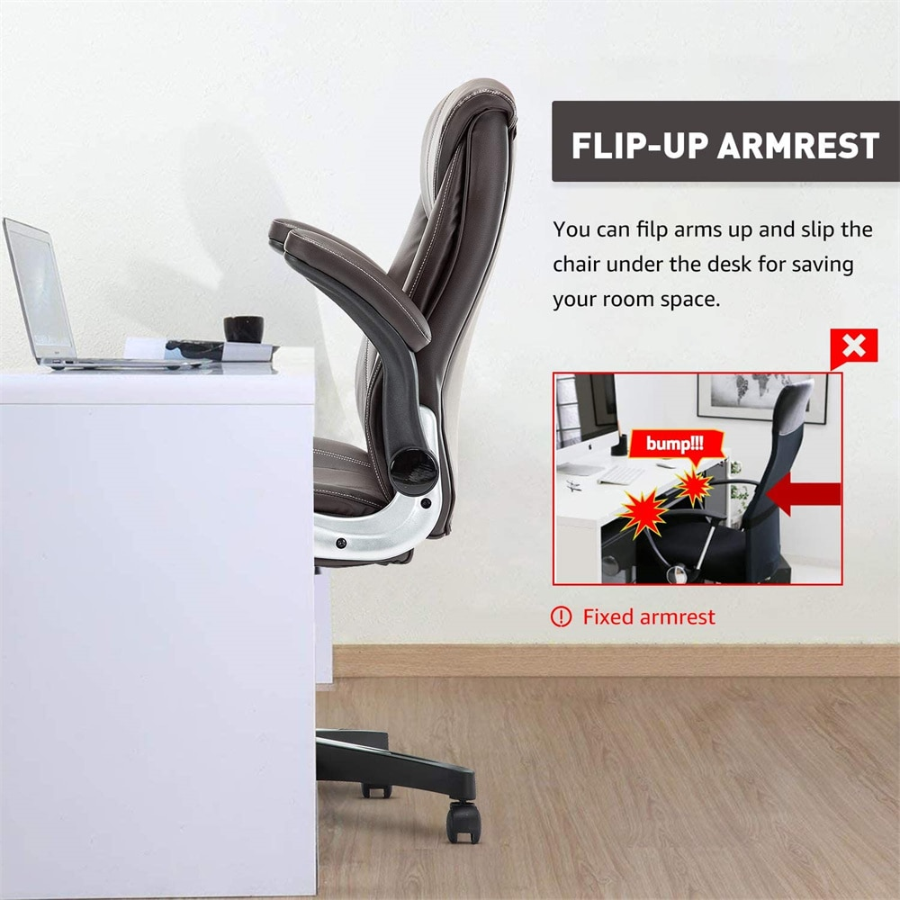 Hac227a100cf44548982d90bf359d6574P - Office Chair Commercial Ergonomic High-Back Bonded Leather Executive Chair with Flip-Up Arms and Lumbar Support pc gaming chair