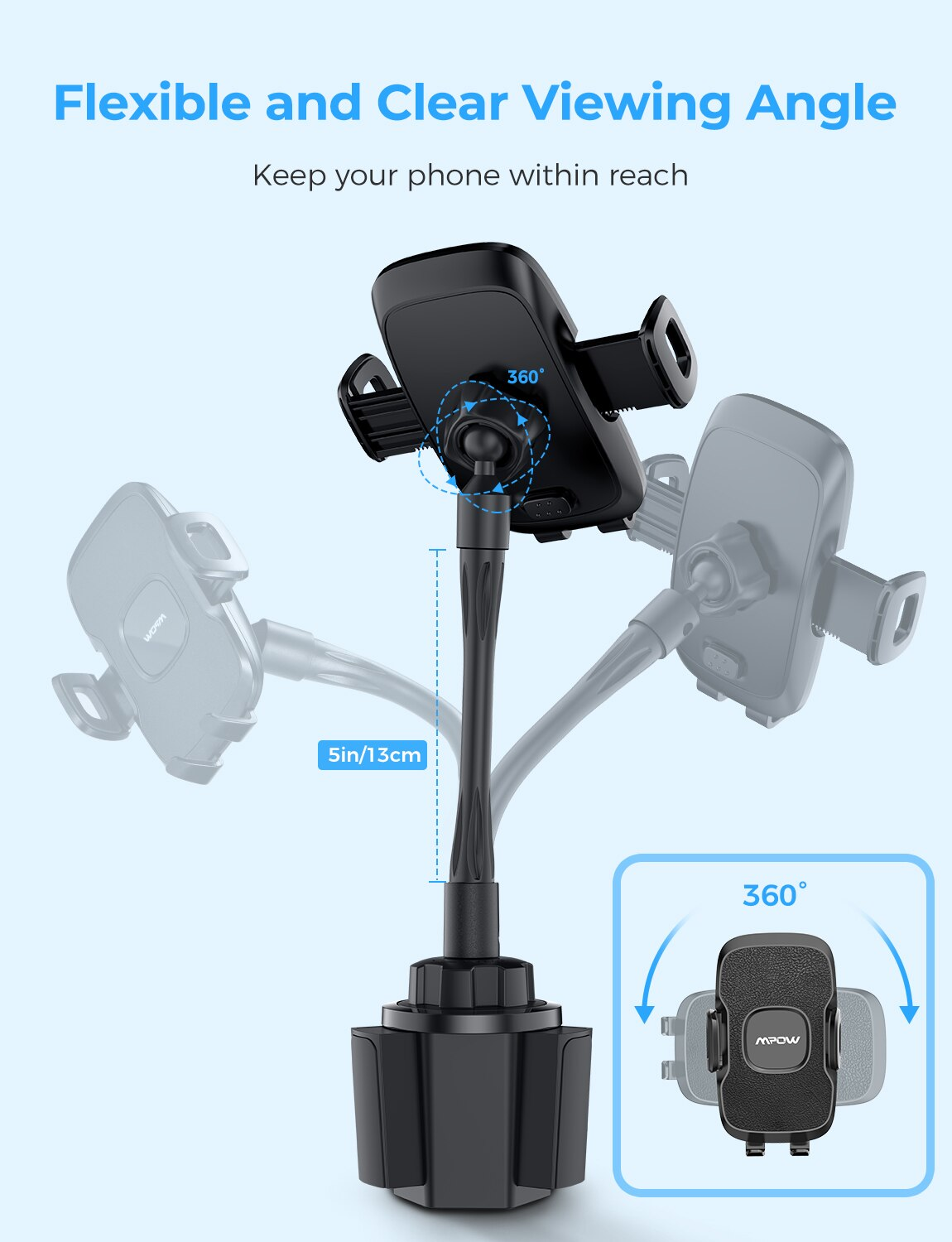 Hac35b19ee4ac4c22992439c7d5bc8b77D - MPOW CA136 Cup Phone Holder for Car One-Hand Operation Phone Cradle Mount Flexible Long Arm Adjustable Clamp for iPhone Galaxy