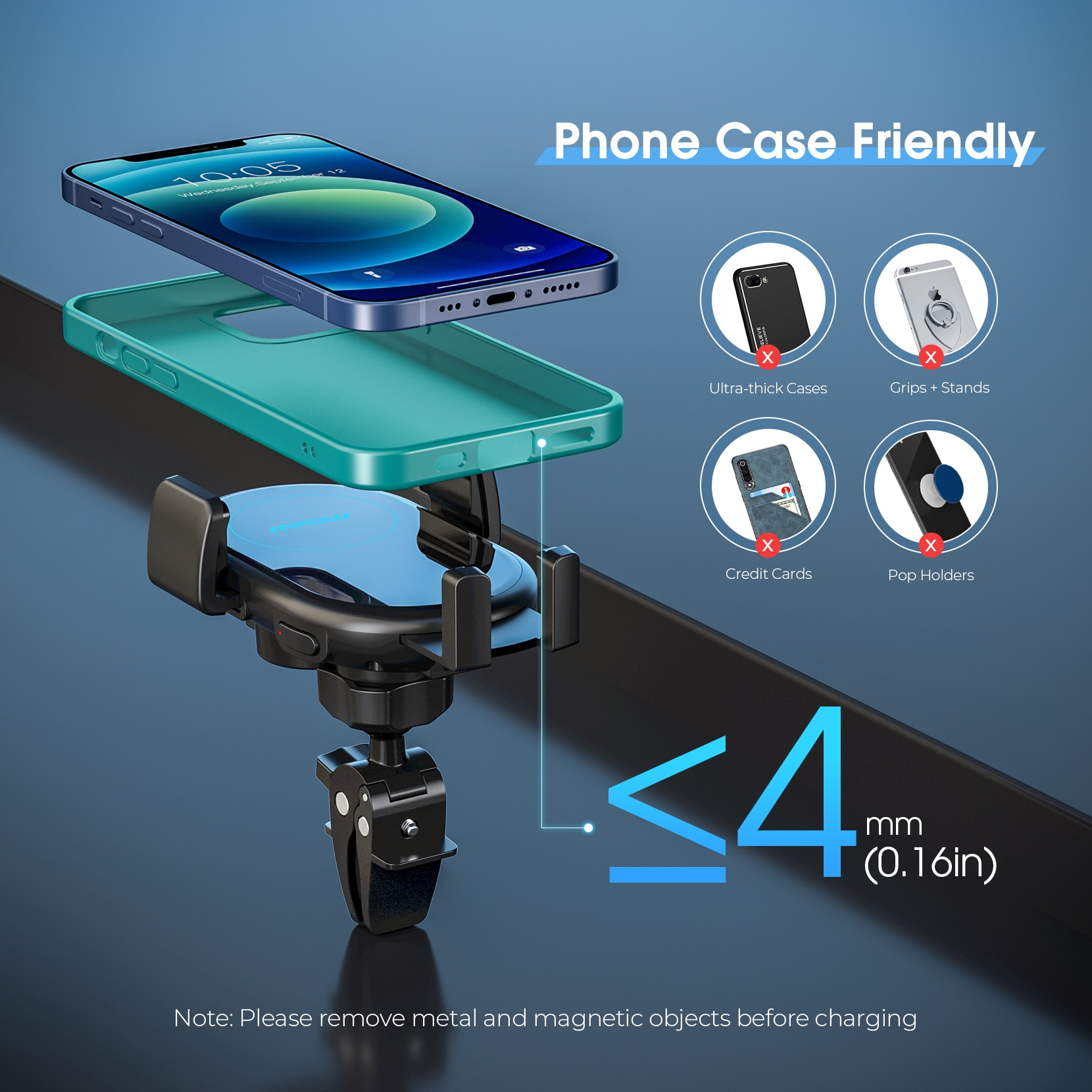 Had9aa871da744d2cb0bbcee6530c077fD - MPOW CA164 Wireless Car Charger 10W Auto-clamping Qi Fast Charging Car Mount with Built-in Battery Cup Holder Vent Phone Holder
