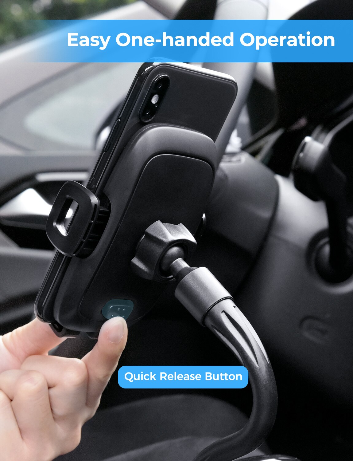 Hadb1d706f4944b9d8161cd9a1c37f918c - MPOW CA136 Cup Phone Holder for Car One-Hand Operation Phone Cradle Mount Flexible Long Arm Adjustable Clamp for iPhone Galaxy