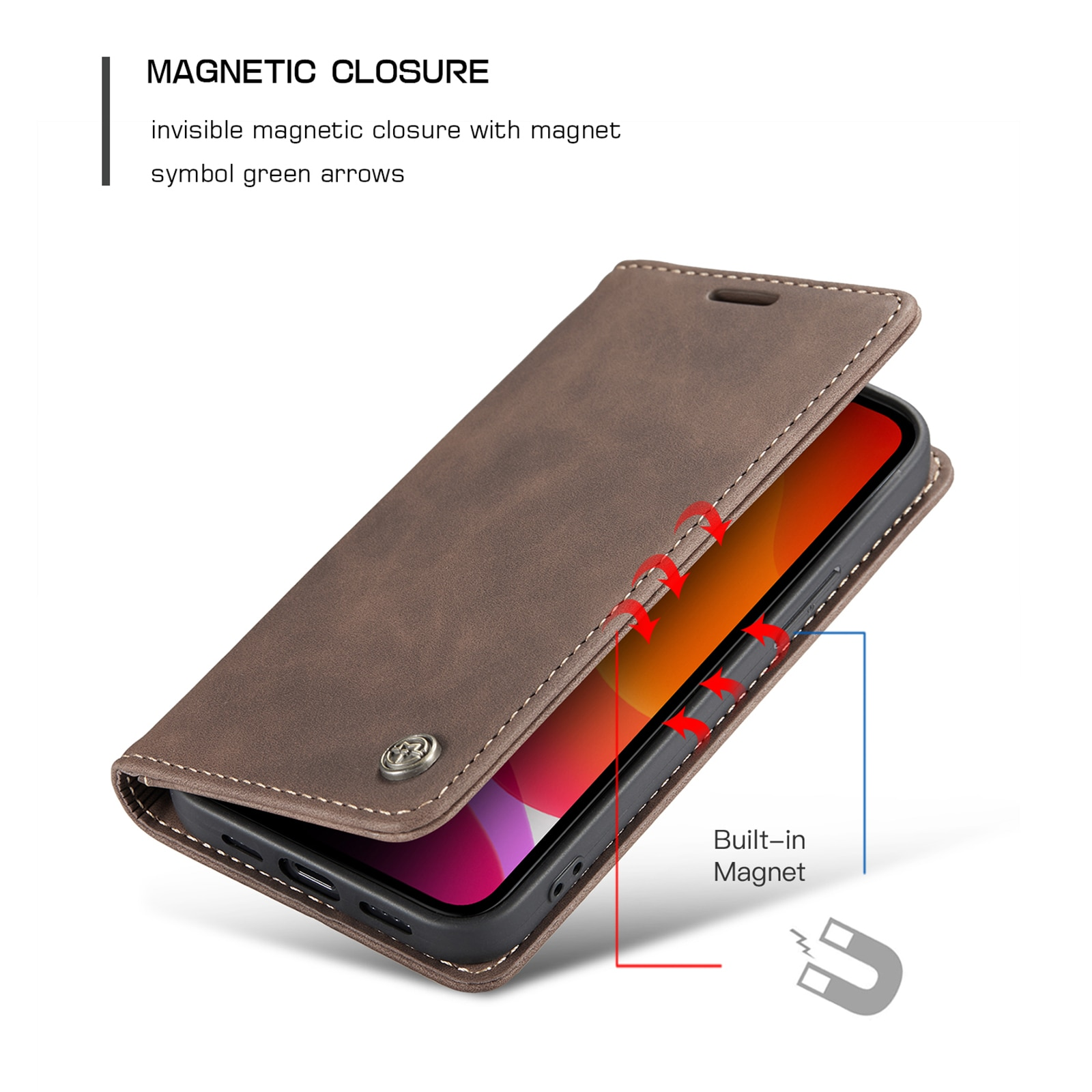 Hadd793325d6f4e628b36b9d83ed62180q - Magnetic Leather Flip Case For iPhone 12 / Pro / Pro Max PU Leather Fitted Bumper Soft Retro Flip Case Book Wallet Cover