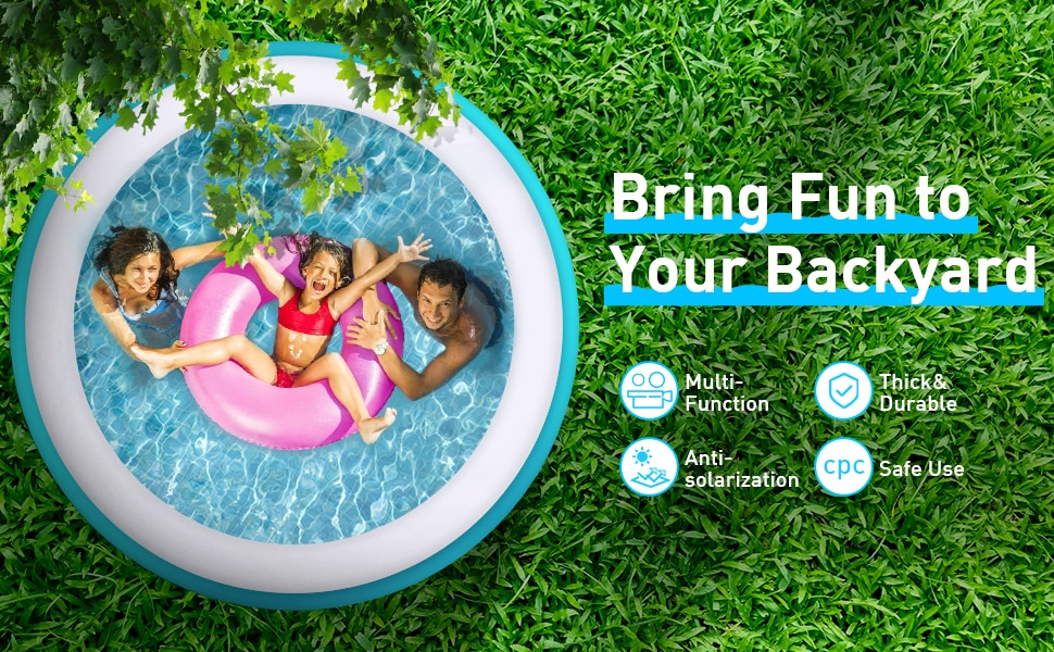 Haeb5c4df10b64b398622485d3085030fz - 244*66cm Swimming Pool 8 feet Family Inflatable,outdoor child summer swimming pool ,Summer Water Backyard Pool Party Supply