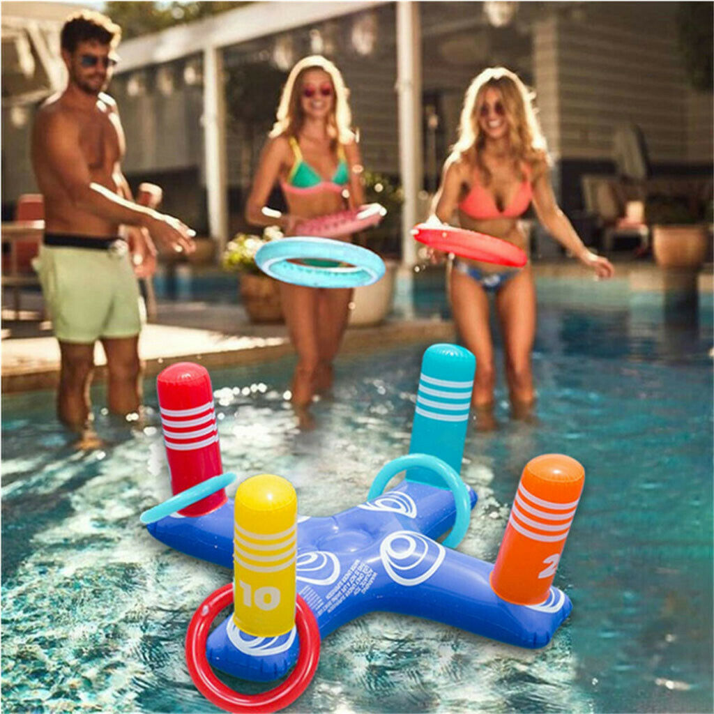 Haf5eee6caf3c4bc5952e3c67e8305801N - Inflatable Ring Toys Swimming Pool Floating Ring Summer Water Beach Cross Ring Toss Game With 4PCS Rings For Children /Adults