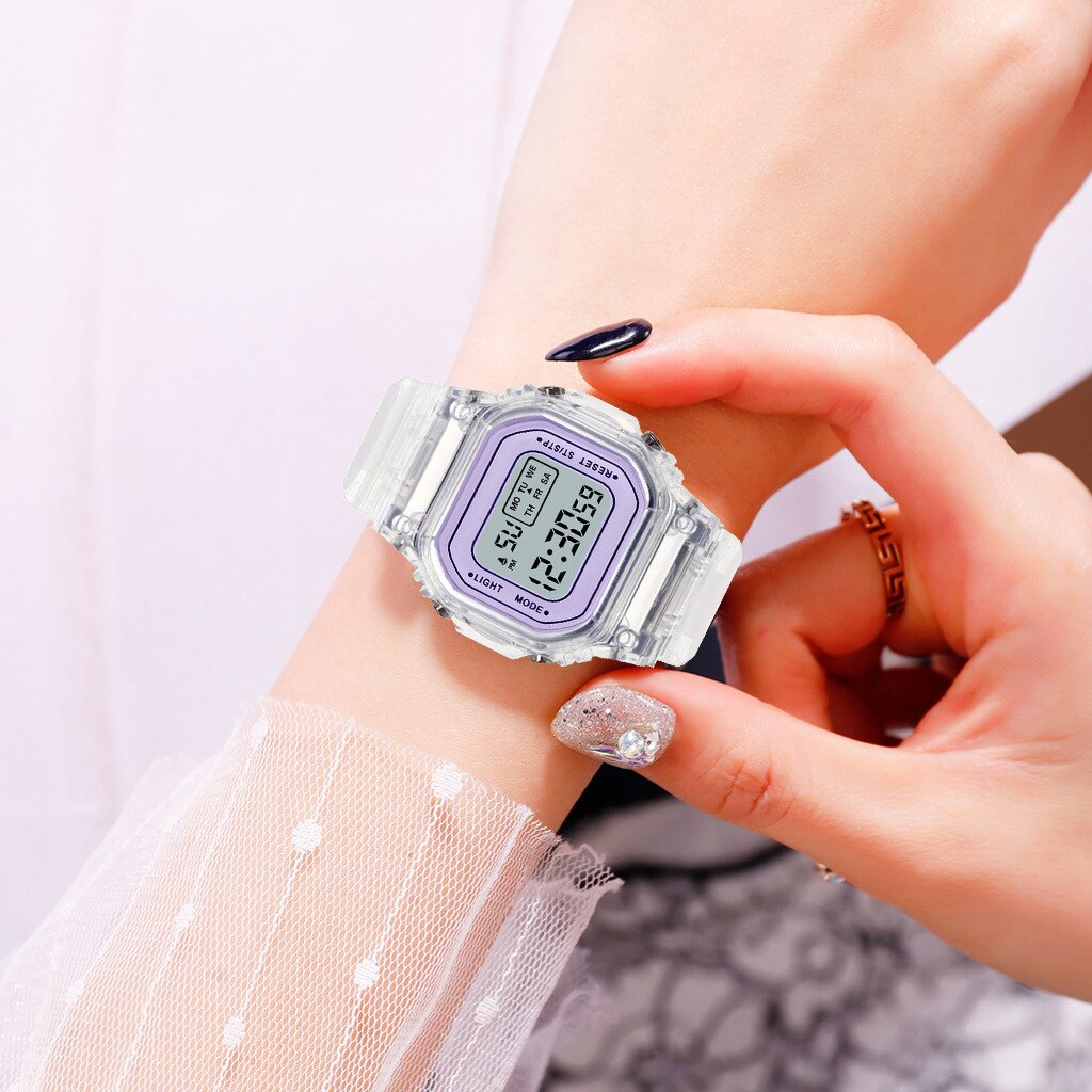 Haf893f75886940028042b09a176cca7aS - New Fashion Transparent Electronic Watch LED Ladies Watch Sports Waterproof Electronic Watch Candy Multicolor Student Gift