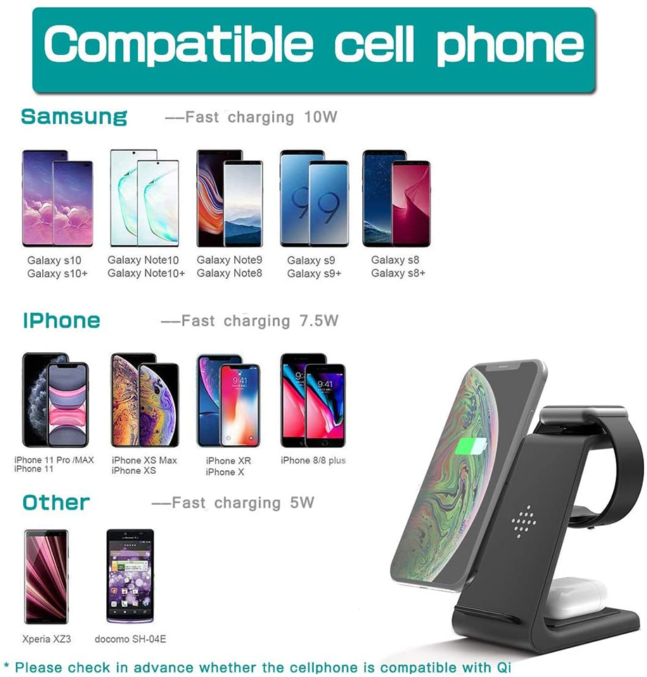 Hb130851635d440f0a636e5069e2ddc71V - Bonola Qi 3 in1 Wreless Chager Stand for iPhone11/XR/Xs/AirPods3/iWatch5 Fast Wireles Chargeing For SamsungS20/S10/Watch/Buds