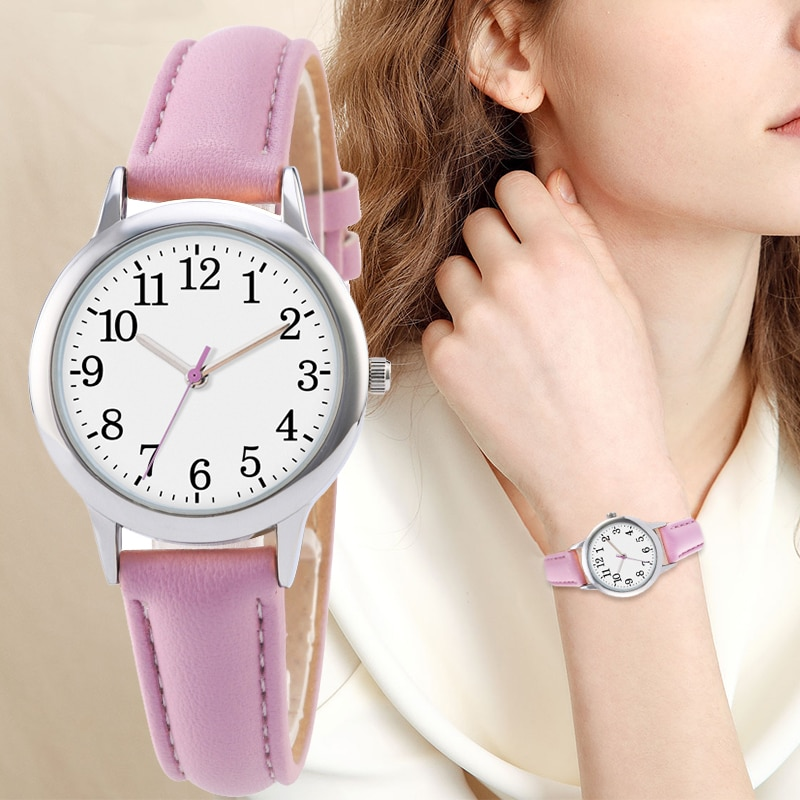Hb3b13f18ee46426986520903521367a3A - Japanese Movement Women Quartz Watch Easy to Read Arabic Numerals Simple Dial PU Leather Strap Lady Candy Color