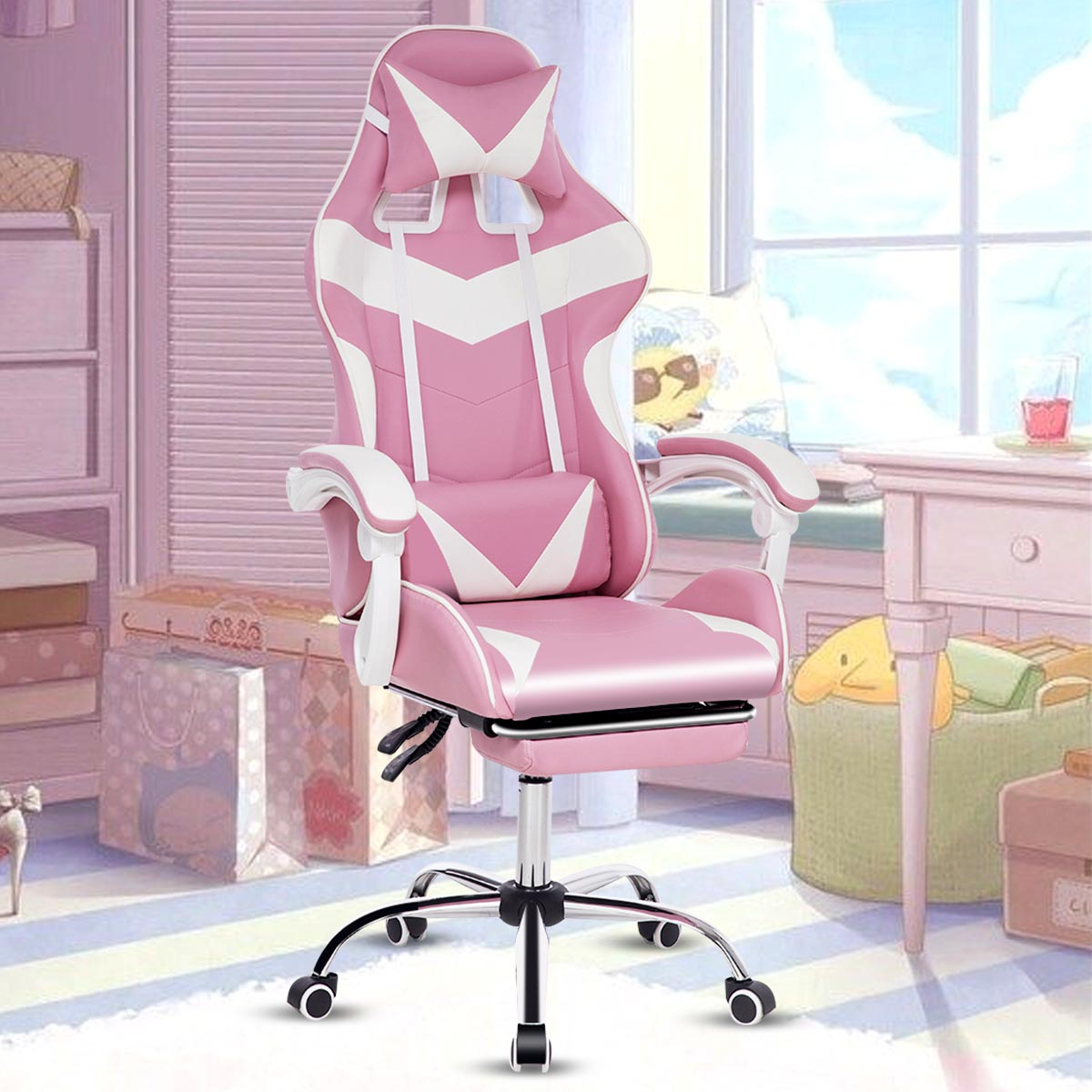 Hb46315a3d82e4039928796ba95f6e052J - Office Computer Chair WCG Gaming Chair Pink Silla Leather Desk Chair Internet Cafe Gamer Chair Household Armchair Office Chair