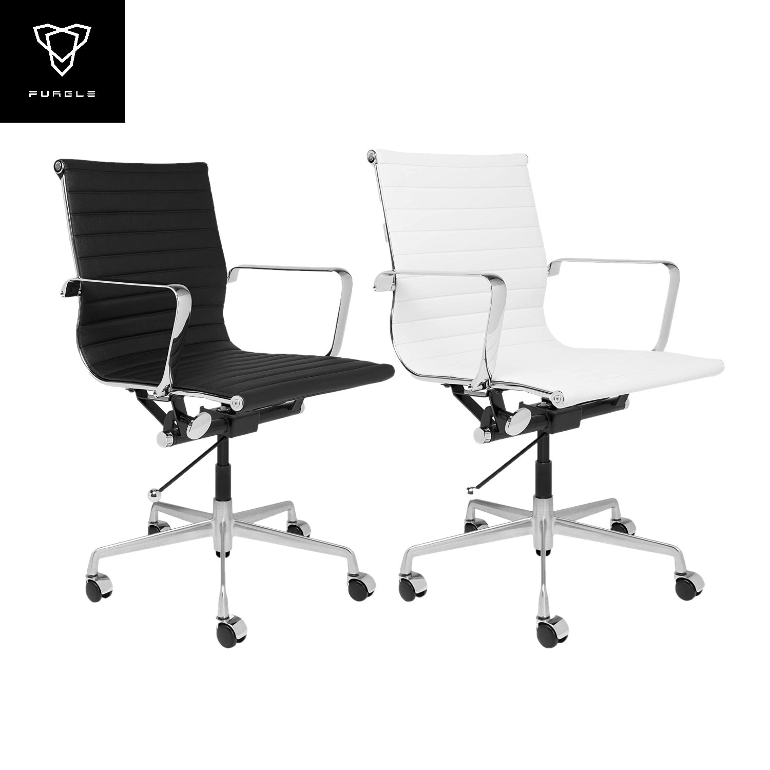 Hb4f6049d768243c4b8544deebaedef19P - Furgle Executive Office Chair Mid Back PU Leather with Arms Rest Tilt Gaming Chair Adjustable Height with Wheels Swivel Chairs