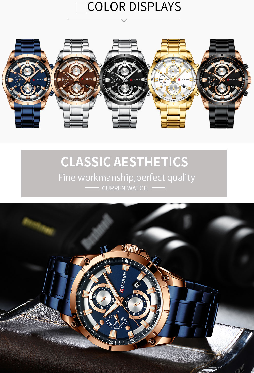 Hb72f5102a8364eef94d07a942e8b035a8 - CURREN Top Brand Luxury Men Watches Sporty Stainless Steel Band Chronograph Quartz Wristwatch with Auto Date Relogio Masculino