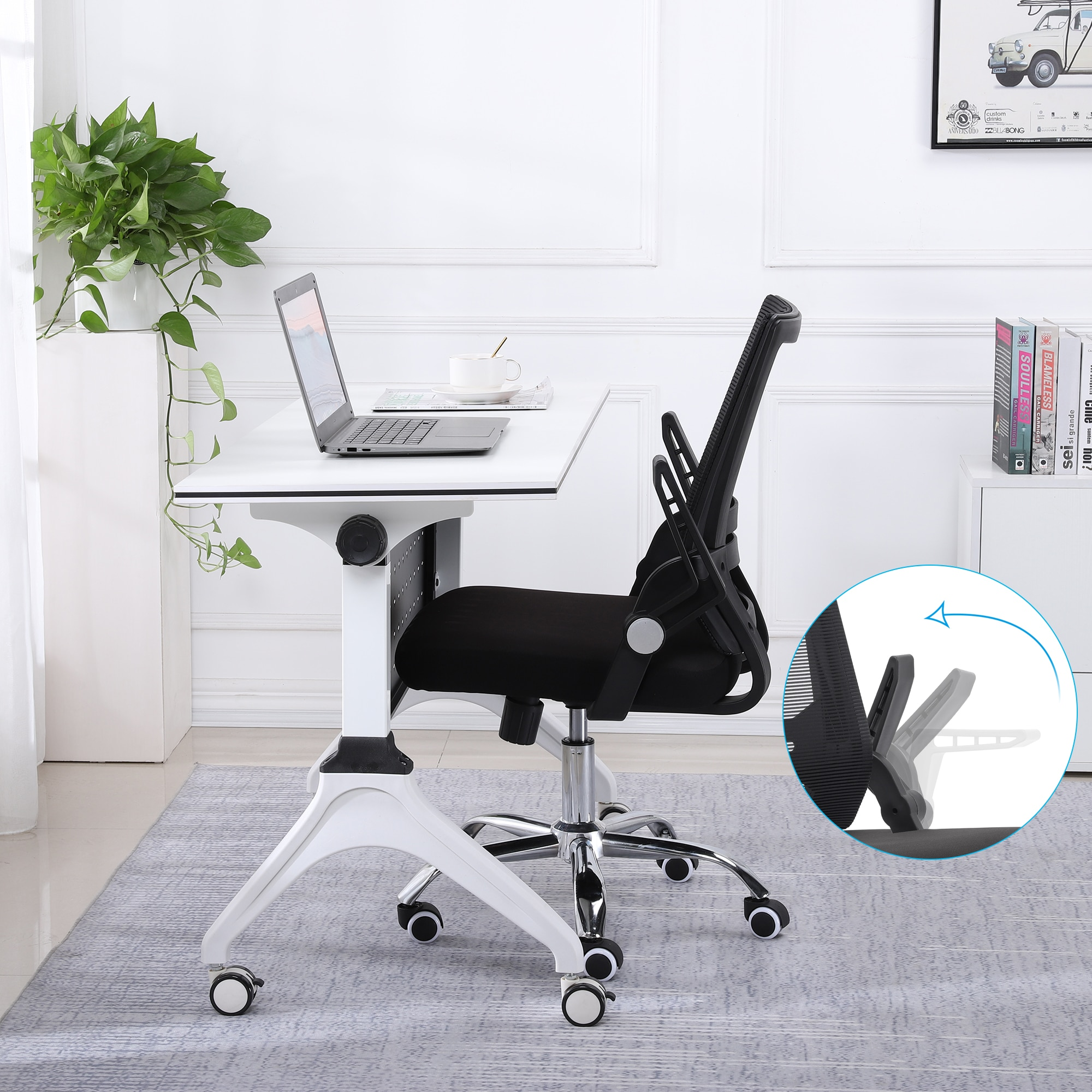 Hb8e43c2ba07248f3b212733471f44f7bz - Sigtua Swiveling Desk Chair Breathable Height-adjustable PC Chair Ergonomic Executive Black Computer Office Chair