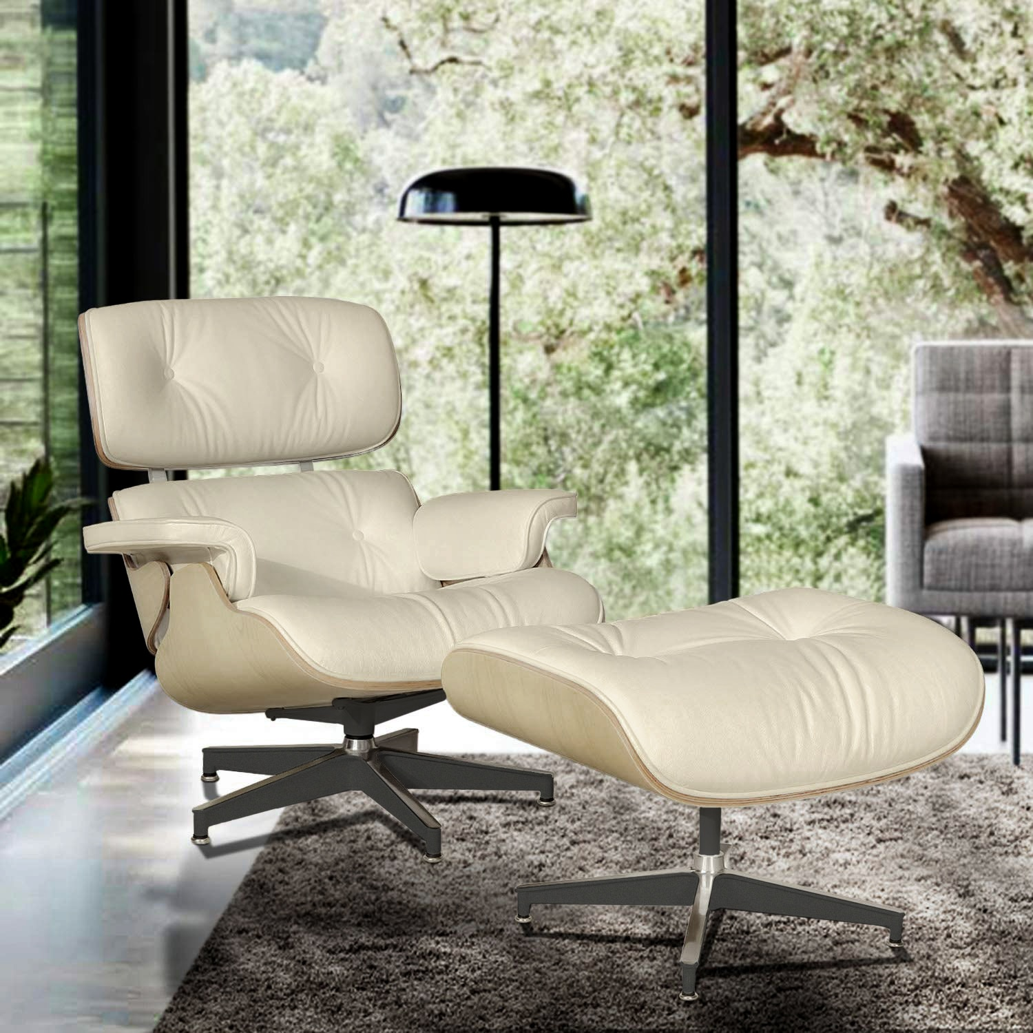Hba85457855f8462fa74515613b98d1bcE - Classic Lounge Chair with Ottoman Leisure Sofa 8 Color Genuine Leather Lounge Chair Alluminum Leg for Living/Bedding/Office Room