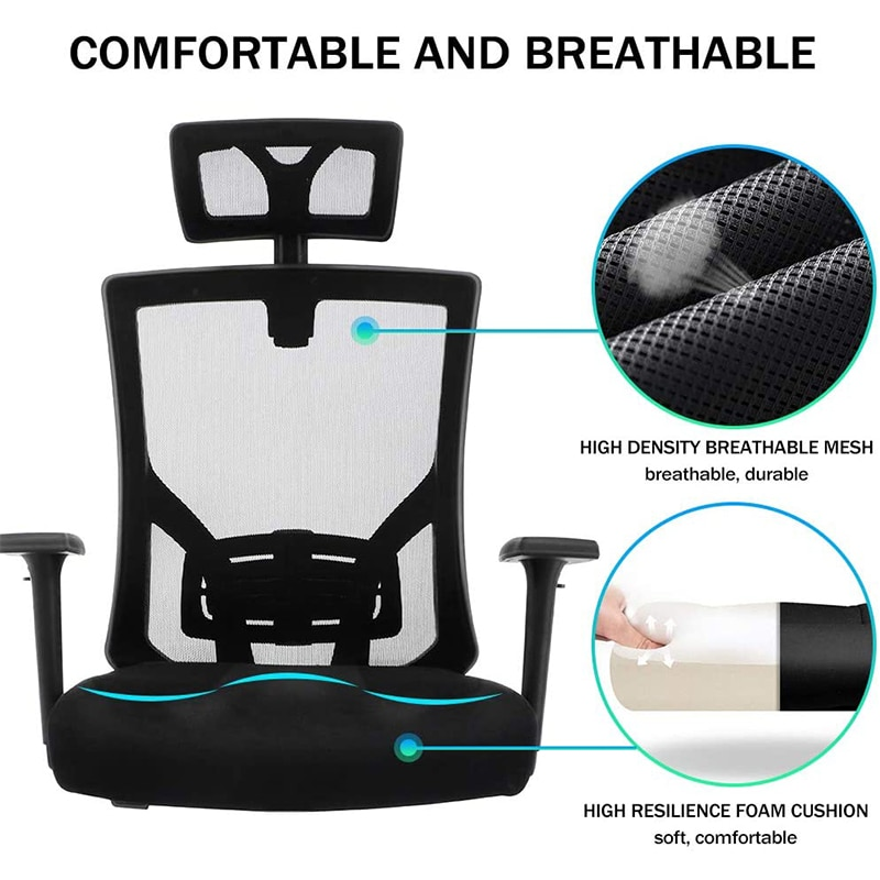 Hbd84a3bc685f488cbf88b8004a6eead1q - Quality Office Chair Black Swivel Mesh Computer Ergonomic Chair High Back With Adjustable Armrest Head Support Height Adjustable