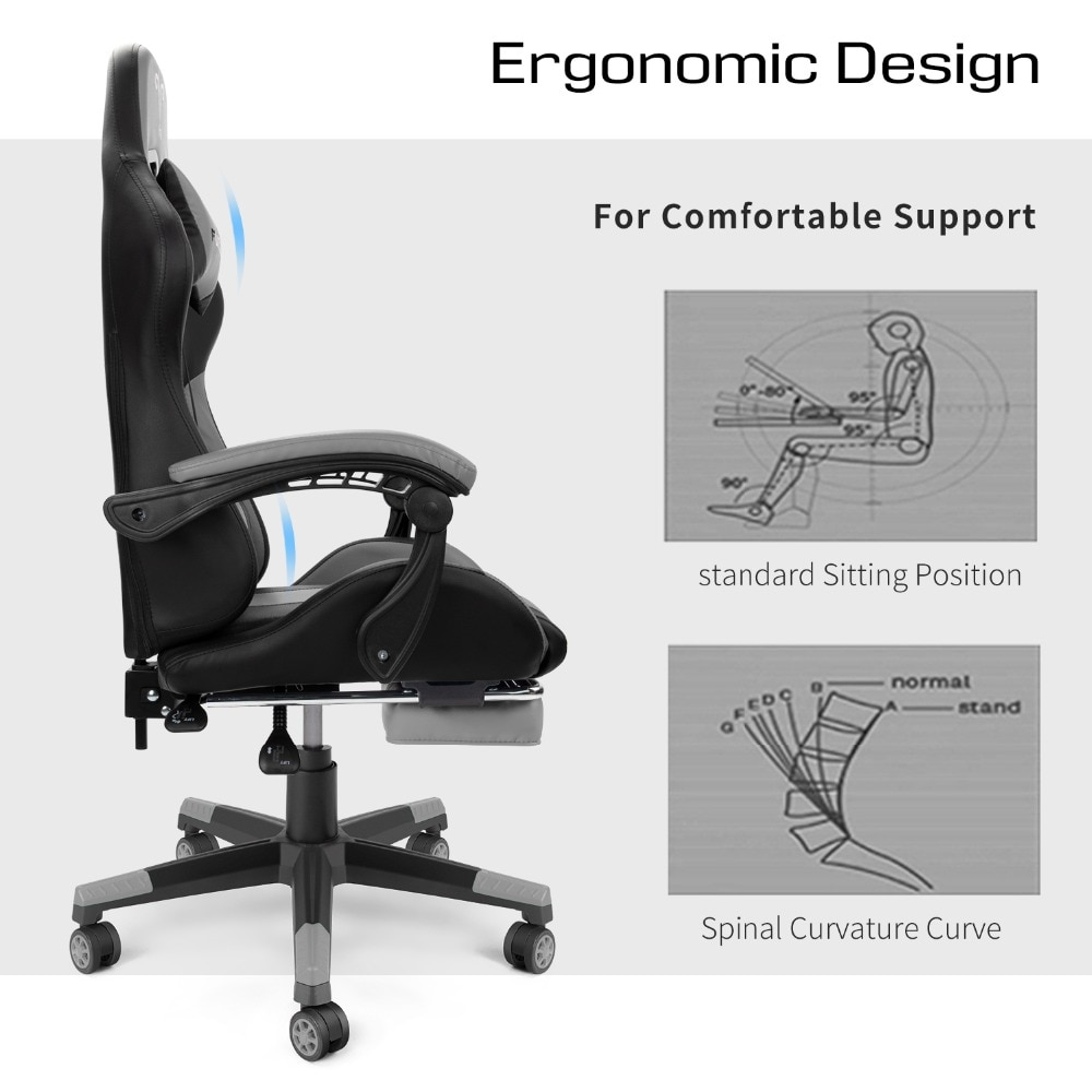 Hbf4730ea747747c2b99c6680676f23f0f - Furgle PC Gaming Chair Ergonomic Office Chair Desk Chair with Lumbar Support Flip Up Arms Headrest High Back Computer Chair