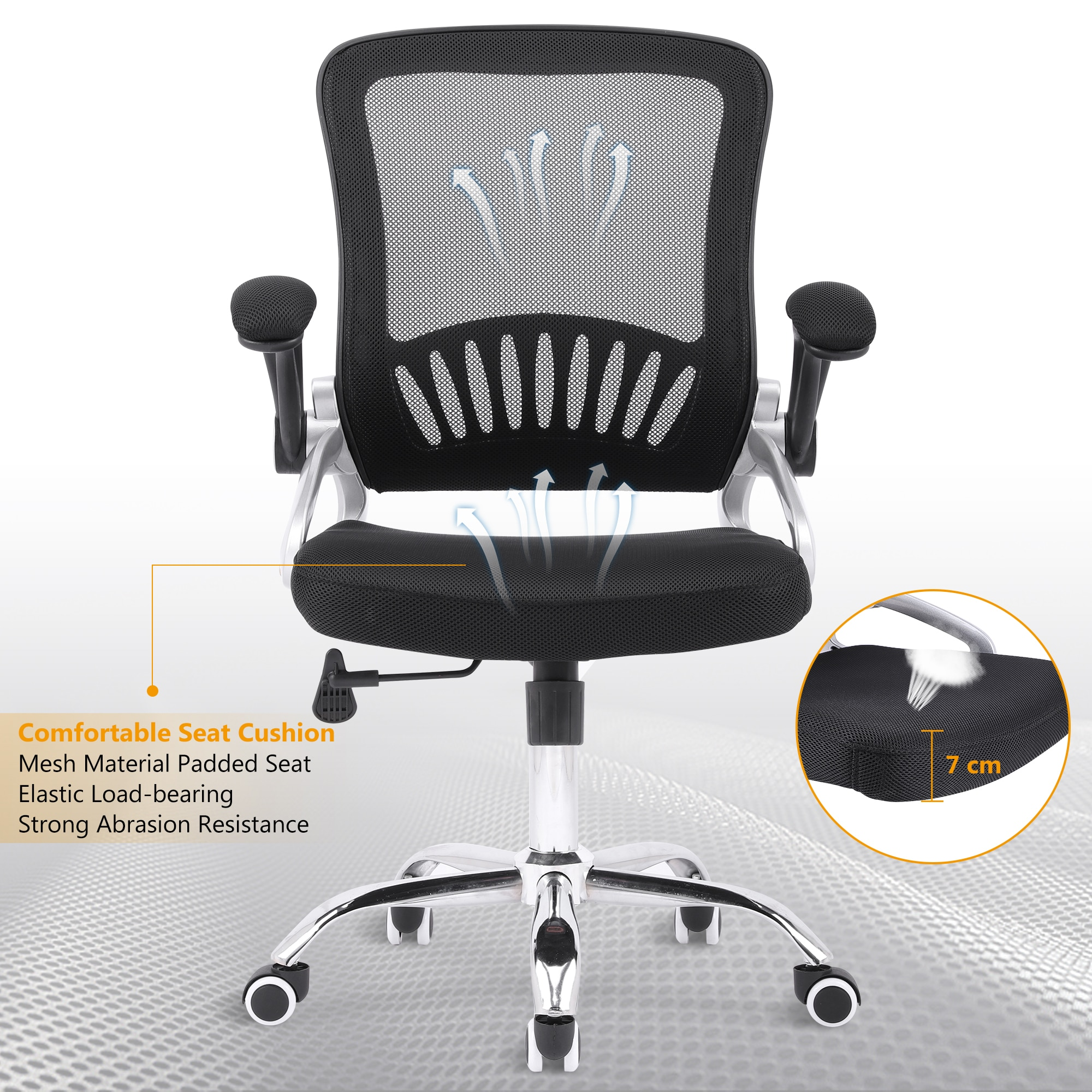 Hc1ca9165e45444e3a7b0b7cdf2d7cac68 - Sigtua Swivel Office Chair Height-adjustable Desk Chair Breathable PC Chair Comfortable Ergonomic Executive Computer Chair Black
