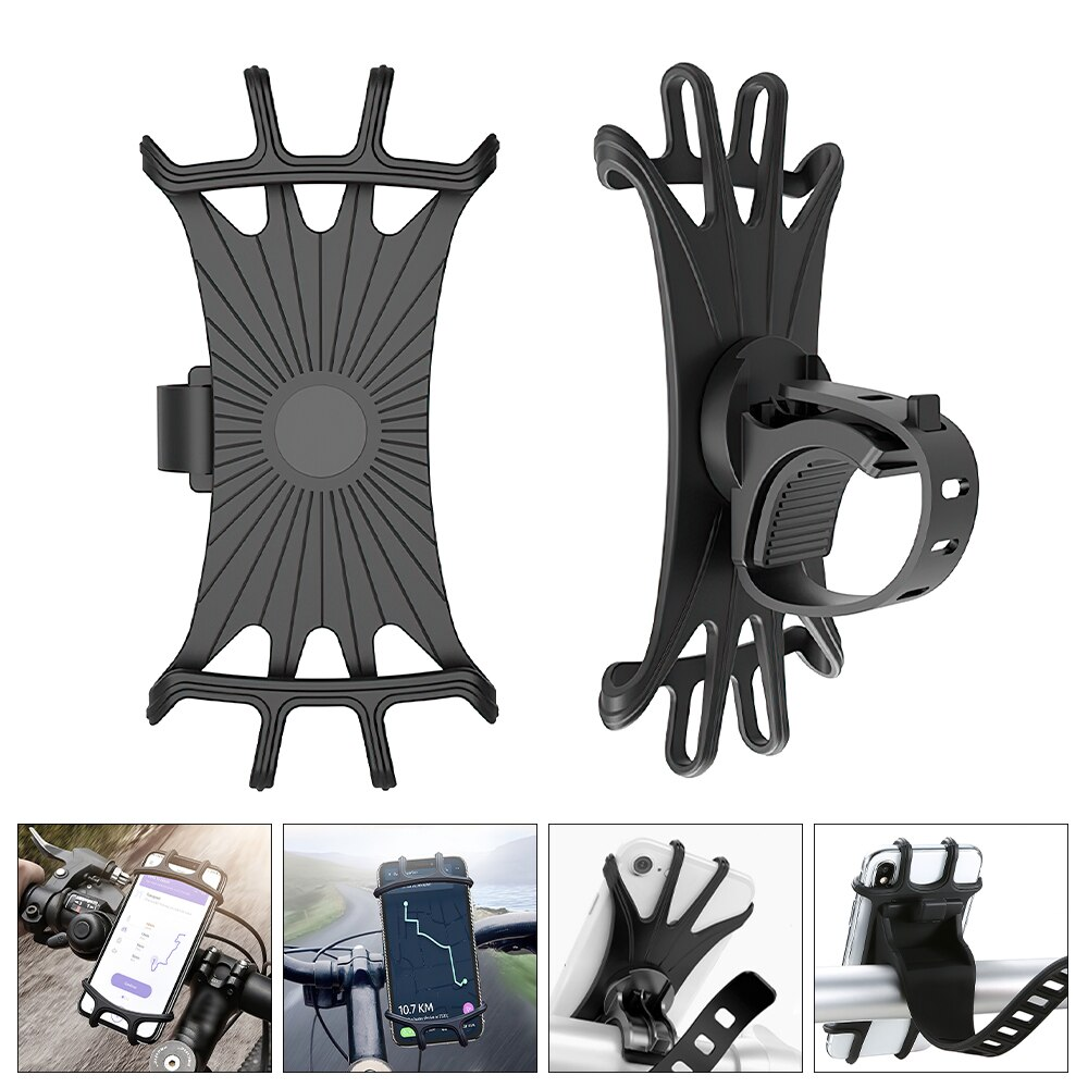 Hc25e8c90f9034d19945b8fc353541c7cY - Bike Phone Holder Silicone Phone Mount Universal for Bicycle Motorcycle Handlebar Stretchy Phone Holster with 360 Rotation