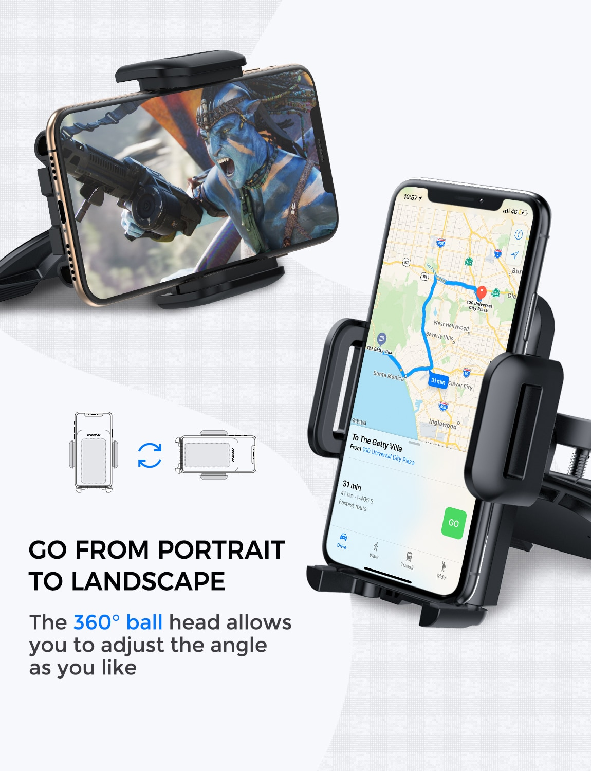 Hc2add57eff2f4248b74cfa3d0940183bC - Mpow MCM3 CD Slot Car Phone Holder Car Mount Holder Stand 360 Rotation Mobile Phone Holder Stand for iphone 12 XS Samsung Huawei