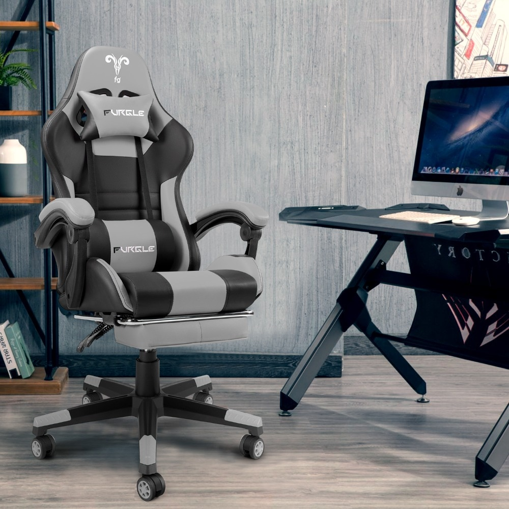 Hc2dd7a404d394c62ab599f4fdcceda51H - Furgle PC Gaming Chair Ergonomic Office Chair Desk Chair with Lumbar Support Flip Up Arms Headrest High Back Computer Chair