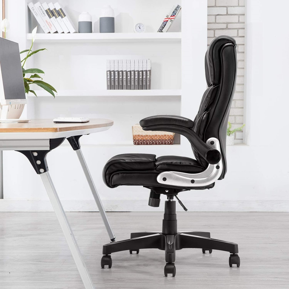 Hc35129cffeb5465c9c922364e923a122B - YAMASORO Ergonomic Office Chair Black Leather Computer Desk Chair High-Back Comfort Gaming Chair with Flip-Up Arms for man women