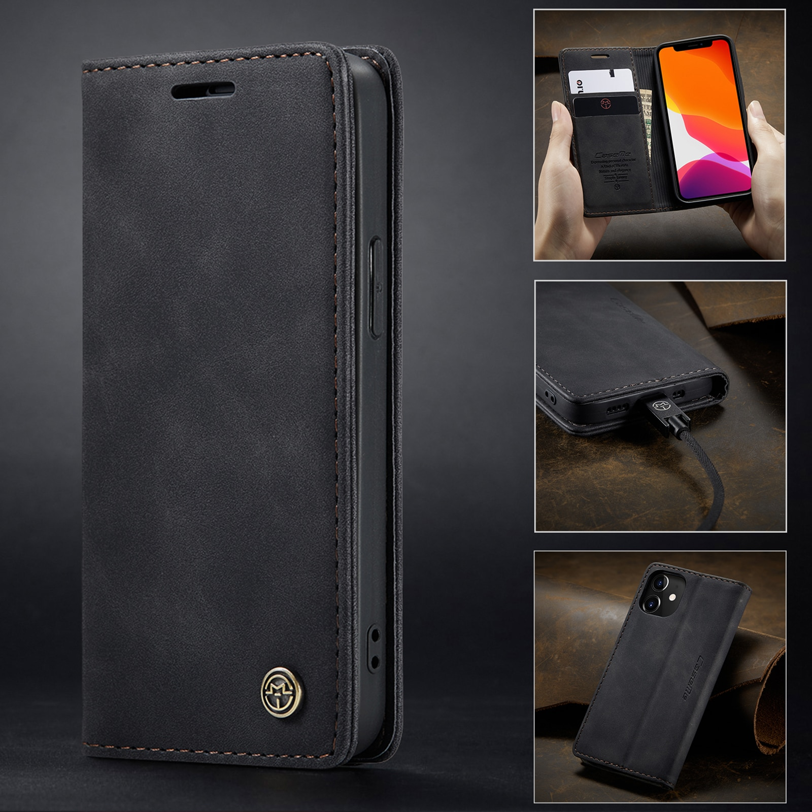 Hc3b3d4009944457d8ccea394372cc7cah - Magnetic Leather Flip Case For iPhone 12 / Pro / Pro Max PU Leather Fitted Bumper Soft Retro Flip Case Book Wallet Cover