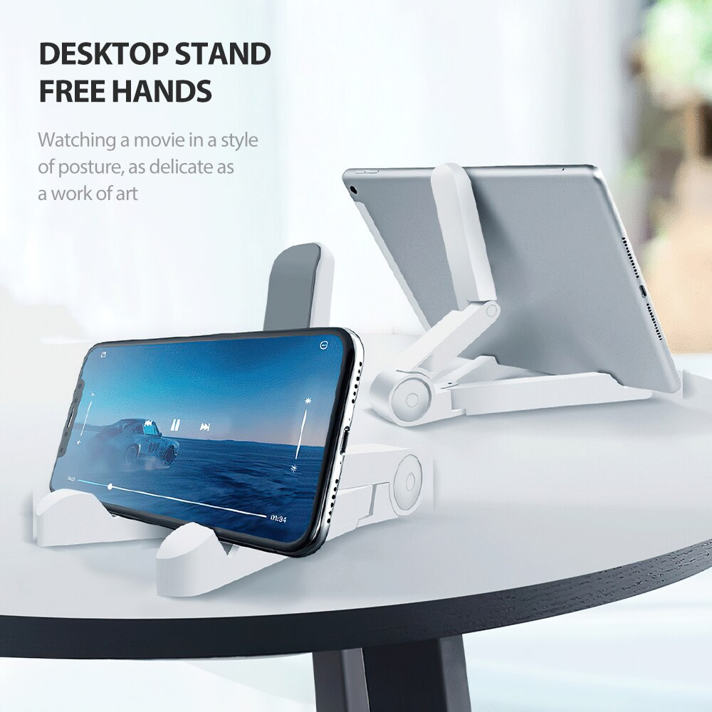 Hc7c64b4846b249b9b2980e356a67123e3 - Mobile Phone Holder Tablet Computer Support Folding Triangle Bracket Desktop Stand Portable Multi Use for Smartphone iPad Office