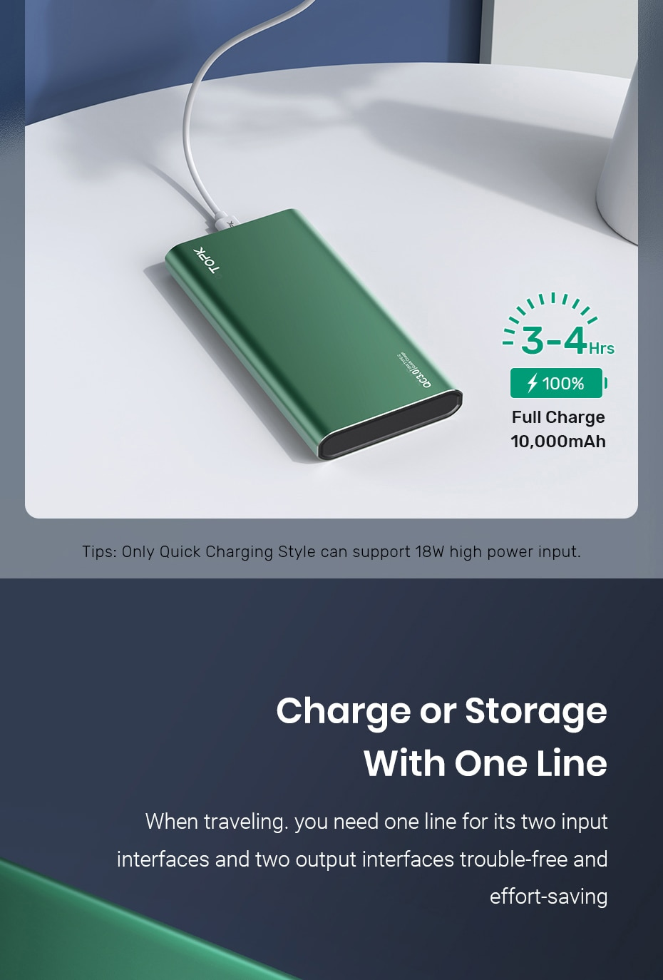 Hd0030bf004c942e3b9717b97397a6cde8 - TOPK I1006P Power Bank 10000mAh Portable Charger LED External Battery PowerBank PD Two-way Fast Charging PoverBank for Xiaomi mi