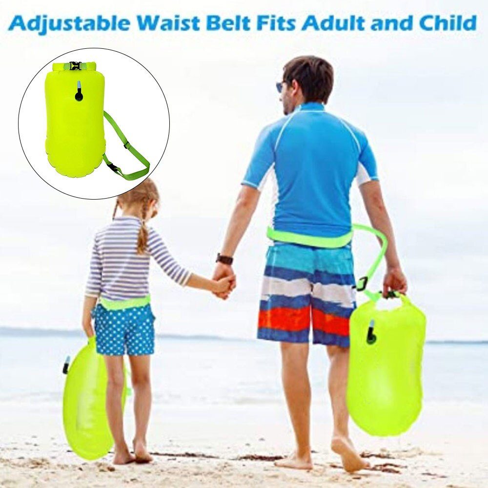Hd089f65dc4b9463bb489e398276bacc4X - Inflatable Open PVC Swimming Buoy Tow Float Dry Bag Double Air Bag with Waist Belt for Swimming Water Sport Safety bag