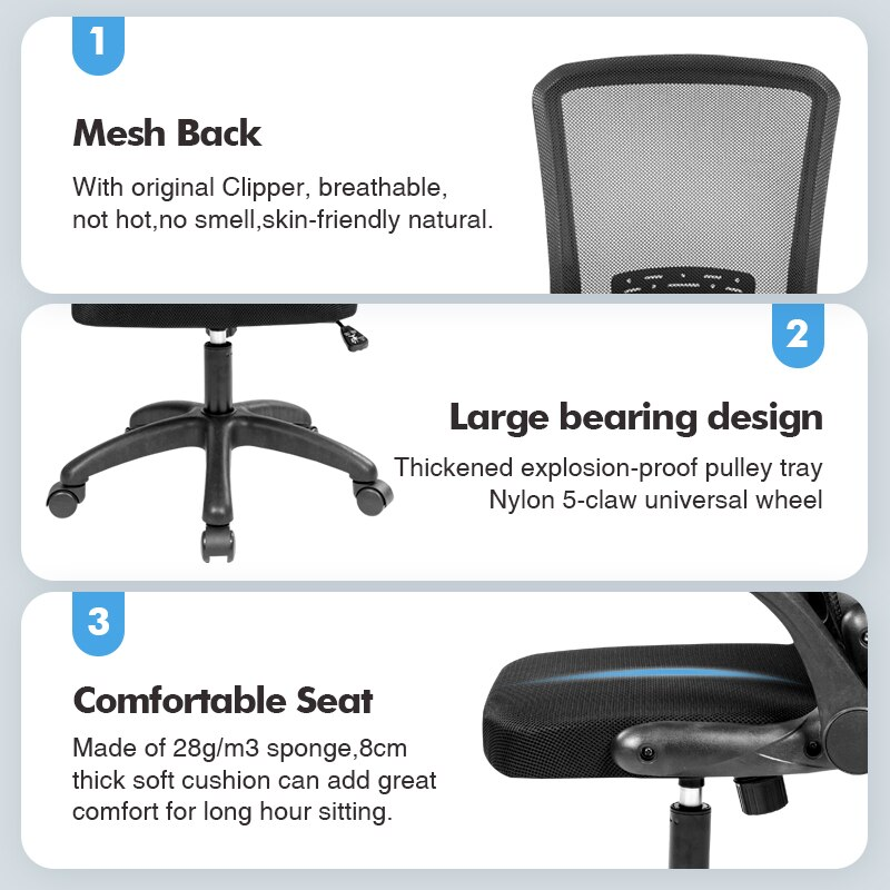Hd16e25ce951140bb84a1a238cc987576B - Rotating Mesh Chair Breathable Adjustable Height Foldable Computer Chair Ergonomic Executive Black Office Chair Furniture