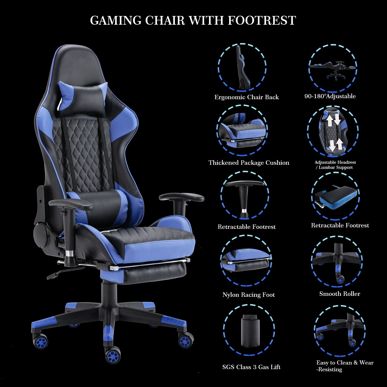 Hd183cd9bb83a480ab5b7898401c773adj - Gaming Chair Computer Armchair Adjustable Armrest And Footrest PVC Household Office Chair Ergonomic Computer Gamer Chair