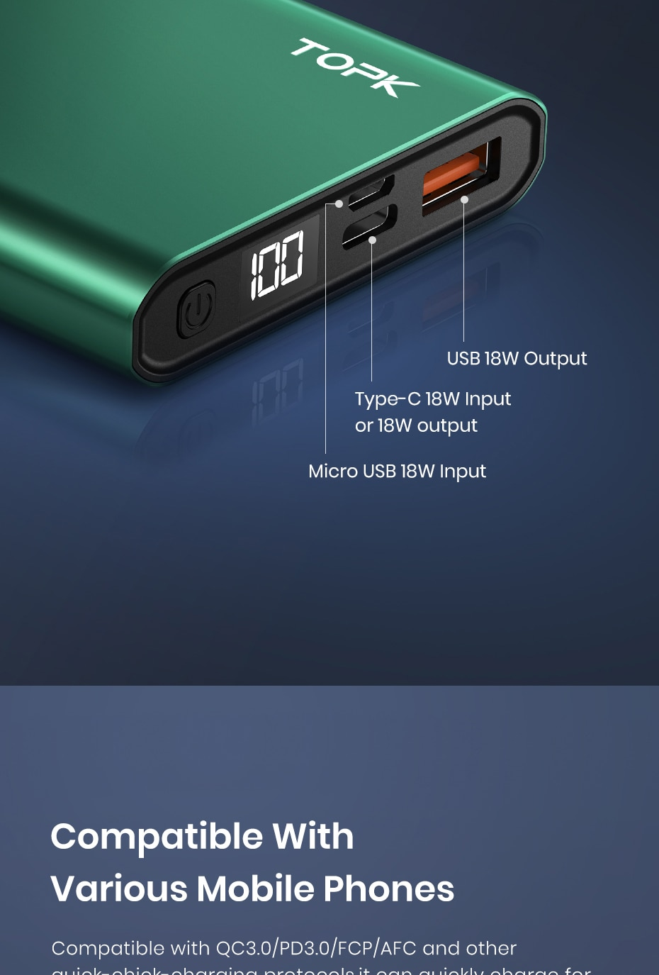 Hd207f243b5784eefabedc4766c64d3805 - TOPK I1006P Power Bank 10000mAh Portable Charger LED External Battery PowerBank PD Two-way Fast Charging PoverBank for Xiaomi mi