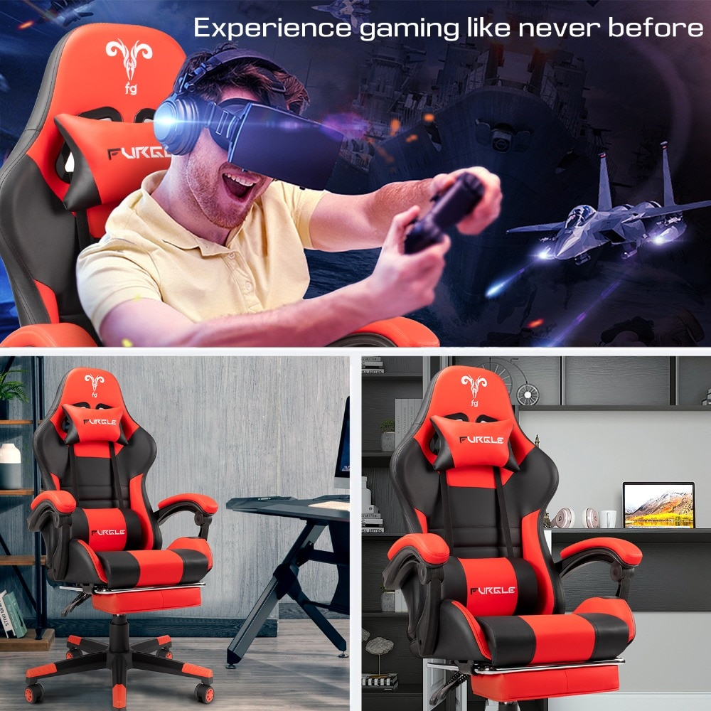Hd2f10899b8d54c92bb5cdcf06a360081G - Furgle PC Gaming Chair Ergonomic Office Chair Desk Chair with Lumbar Support Flip Up Arms Headrest High Back Computer Chair