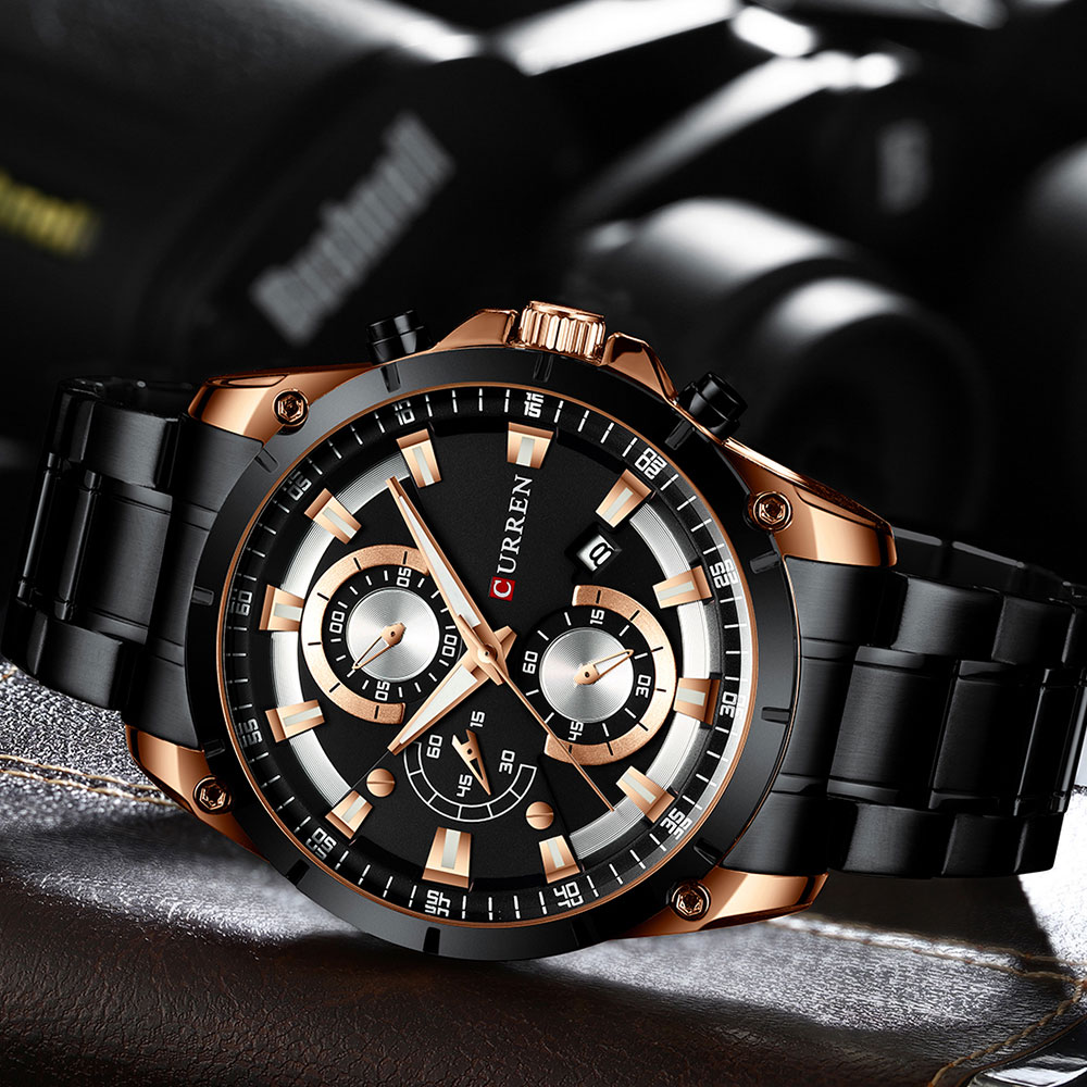Hd393905b388745d4bc9ffa5bacdca8e5W - CURREN Top Brand Luxury Men Watches Sporty Stainless Steel Band Chronograph Quartz Wristwatch with Auto Date Relogio Masculino