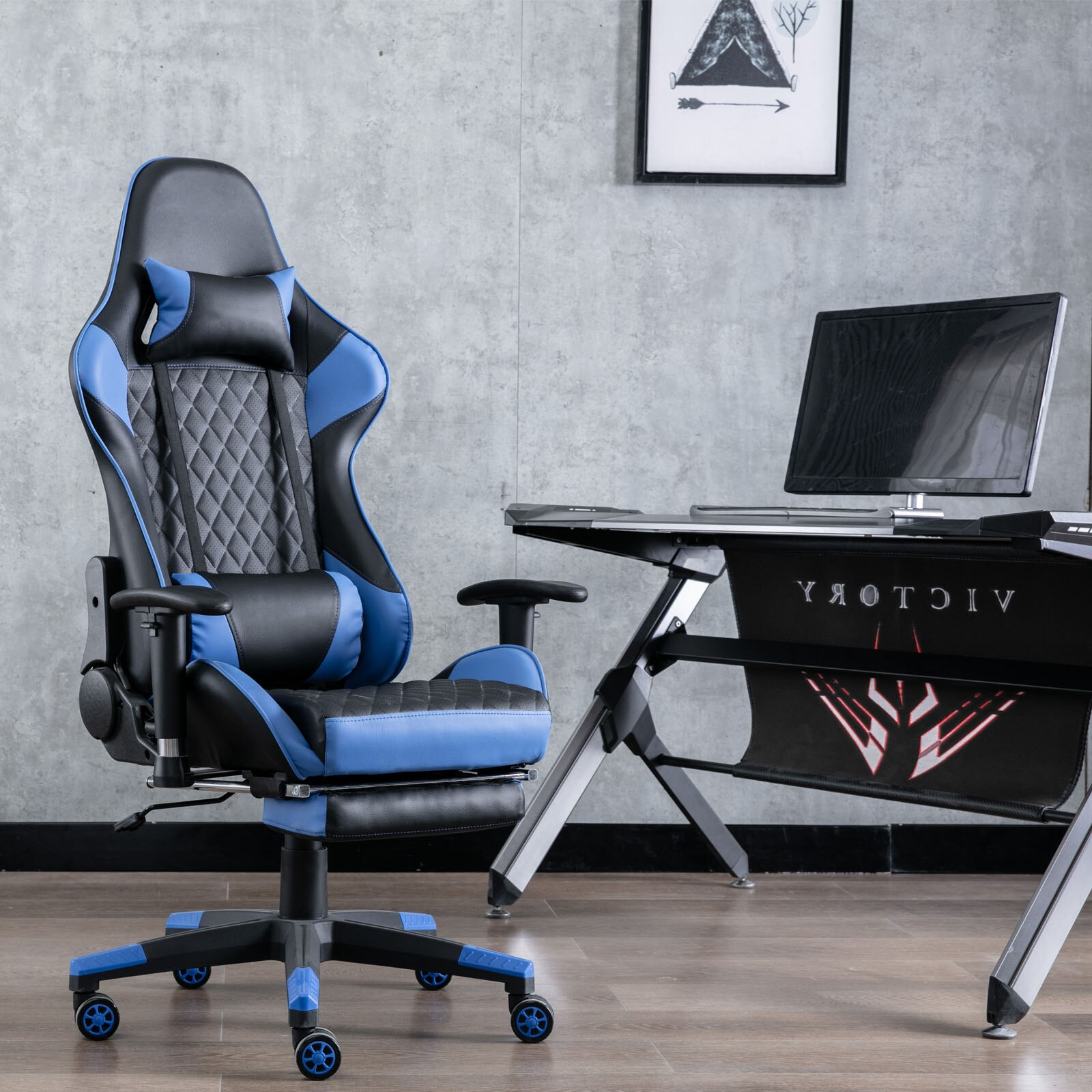 Hd3d9aefaf2b742bab9b795334a732150Y - Gaming Chair Computer Armchair Adjustable Armrest And Footrest PVC Household Office Chair Ergonomic Computer Gamer Chair