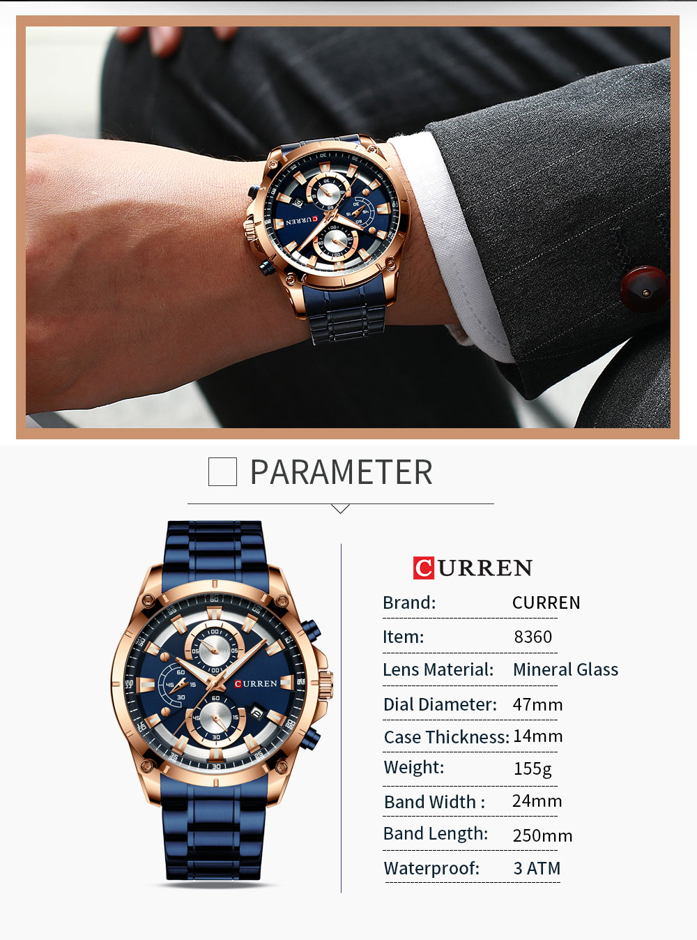 Hd59c5119bb344d3598aa4f96b9977eb67 - CURREN Top Brand Luxury Men Watches Sporty Stainless Steel Band Chronograph Quartz Wristwatch with Auto Date Relogio Masculino